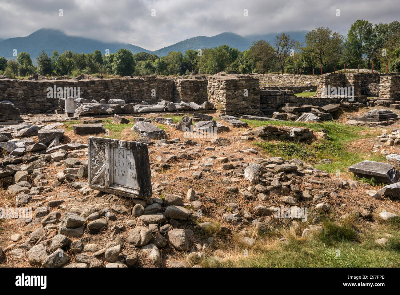 Forum section of Ulpia Traiana, 2nd century Roman Dacia city ruins in village of Sarmizegetusa, Transylvania, Romania Stock Photo