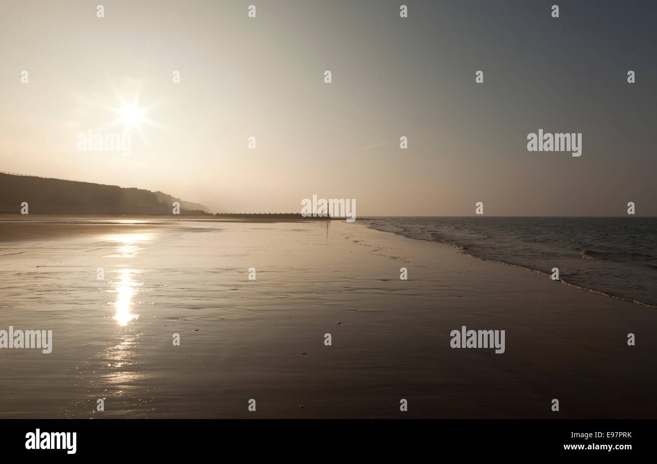 A deserted empty Weston Runton beach, Norfolk, England UK - Stock Image
