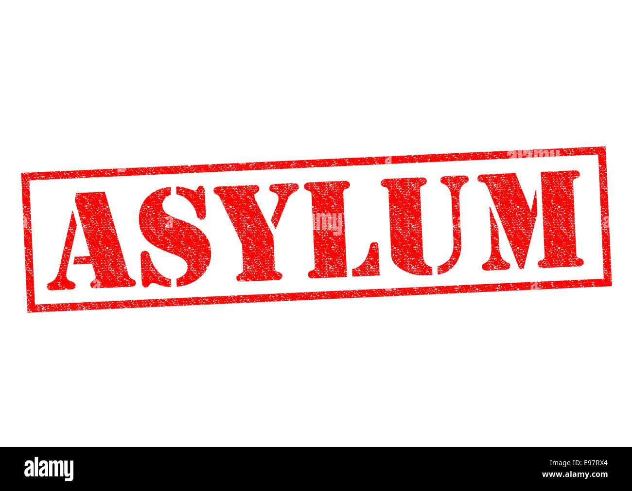 ASYLUM red Rubber Stamp over a white background. - Stock Image