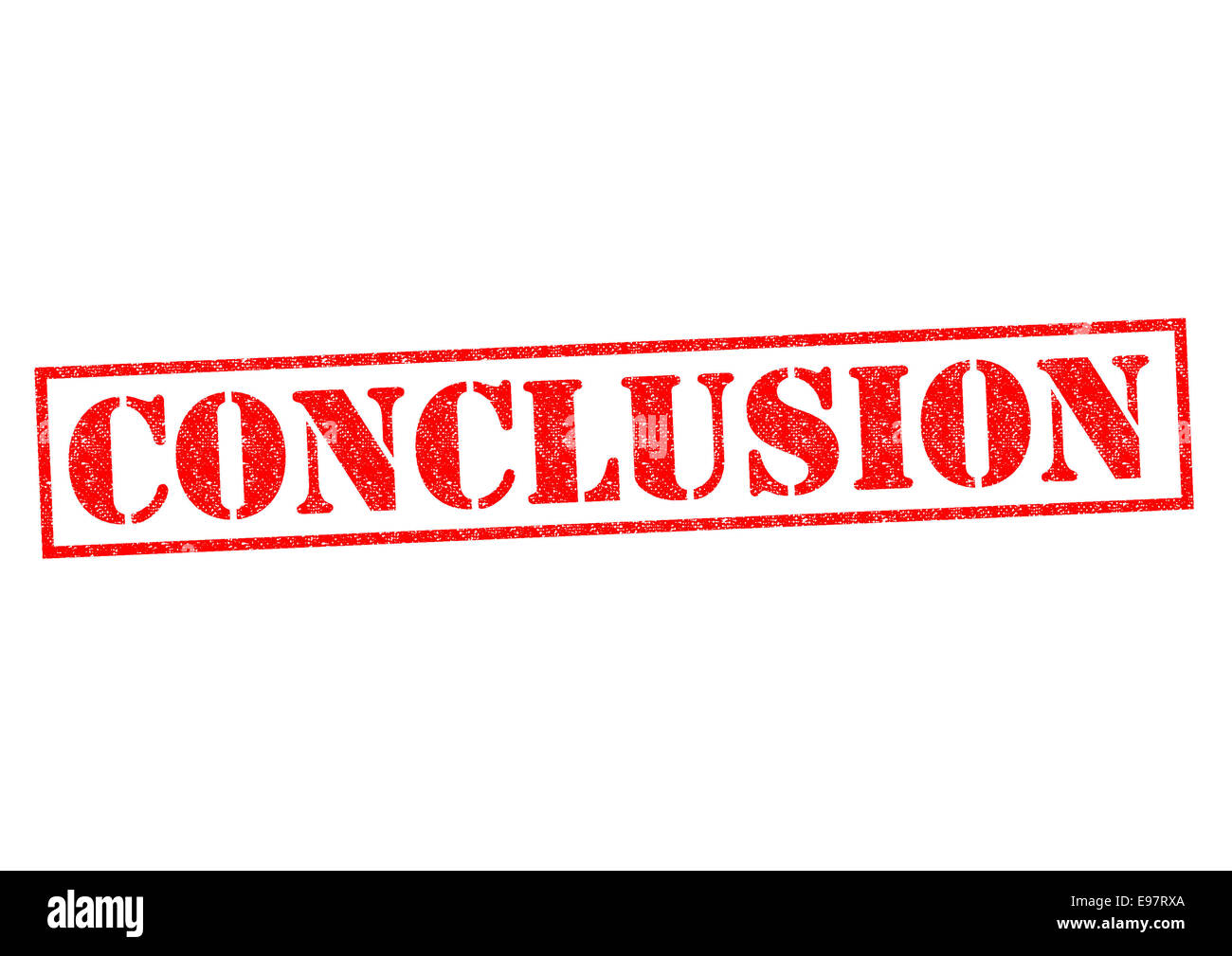 CONCLUSION red Rubber Stamp over a white background. - Stock Image