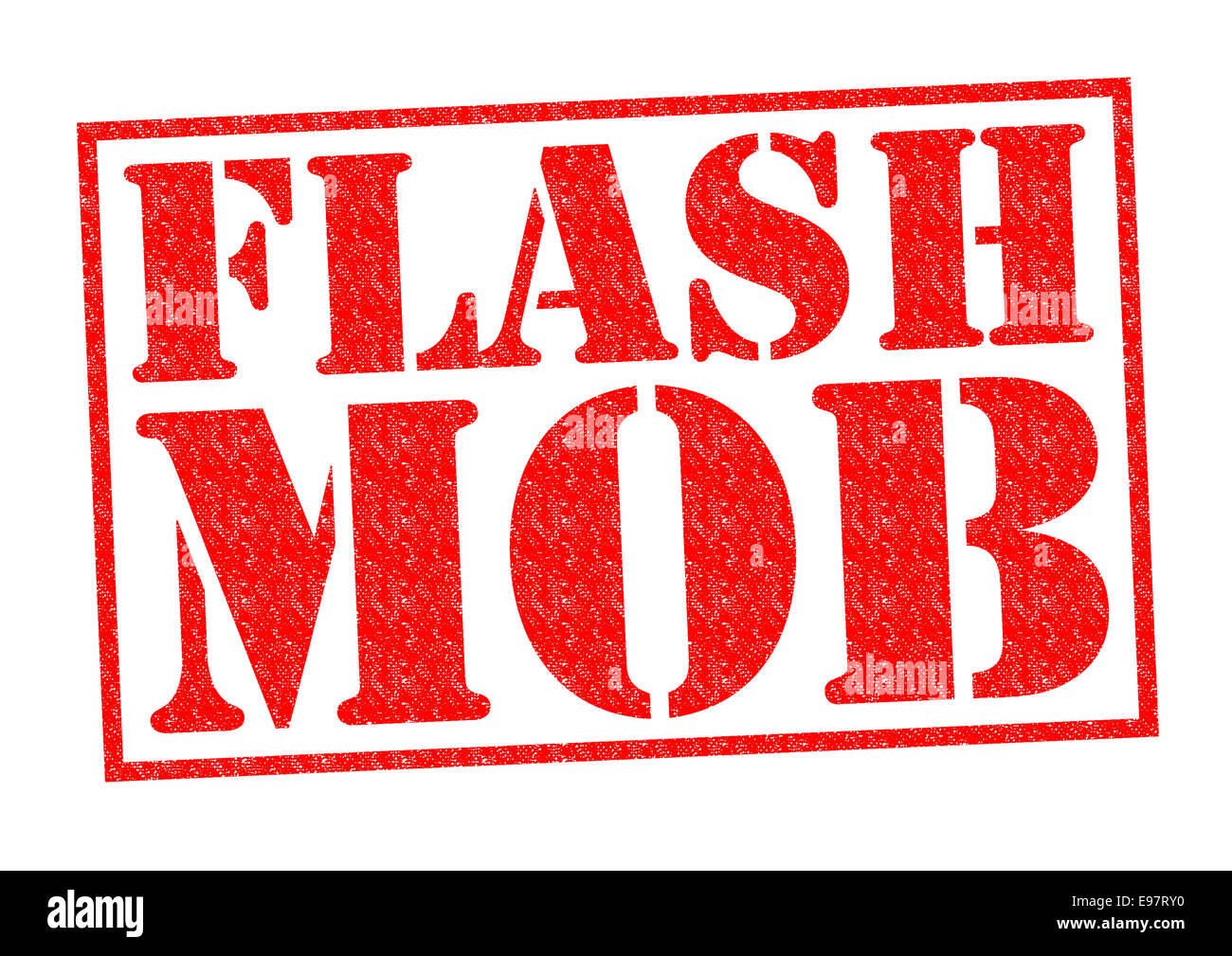 FLASH MOB red Rubber Stamp over a white background. - Stock Image