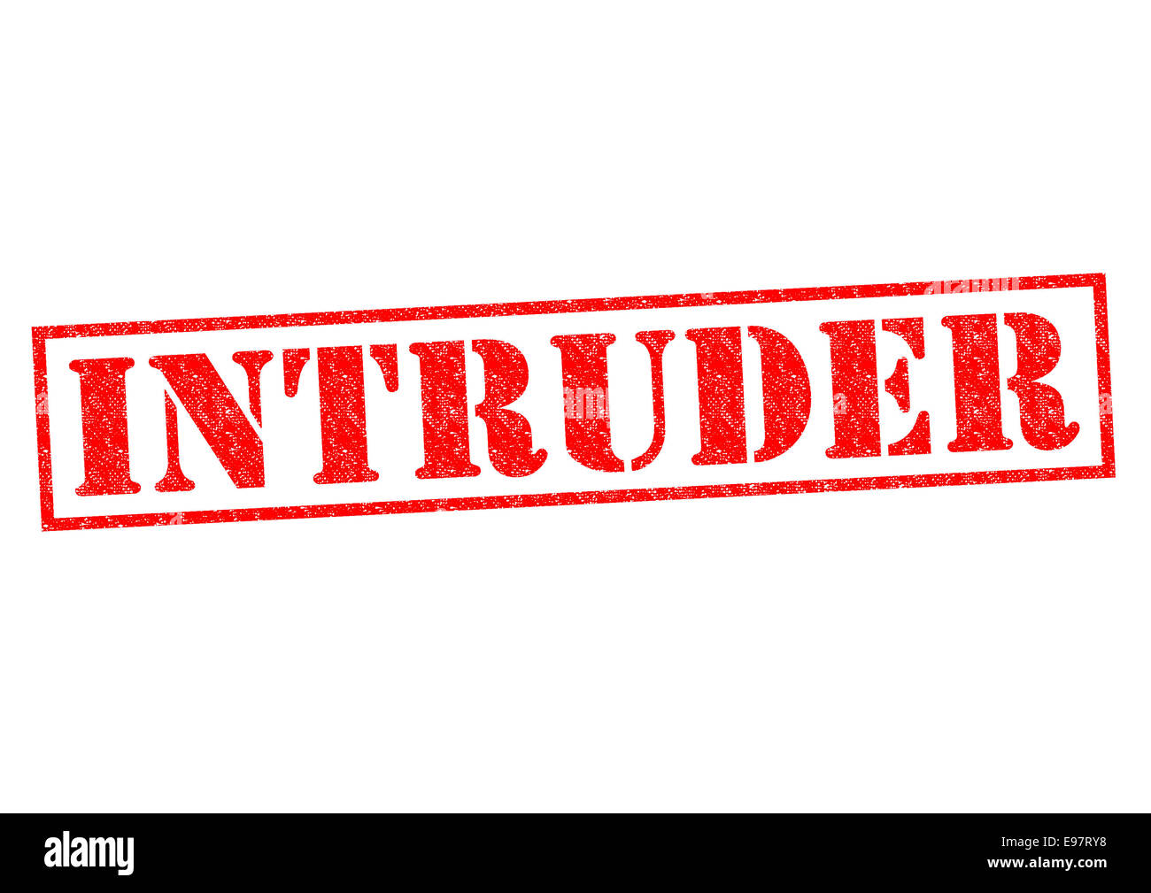 INTRUDER red Rubber Stamp over a white background. - Stock Image