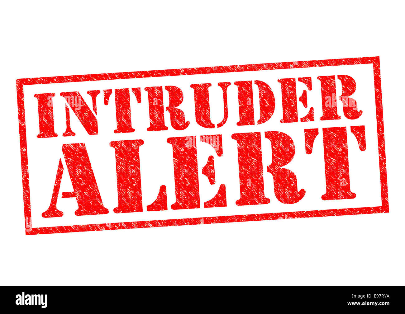 INTRUDER ALERT red Rubber Stamp over a white background. - Stock Image