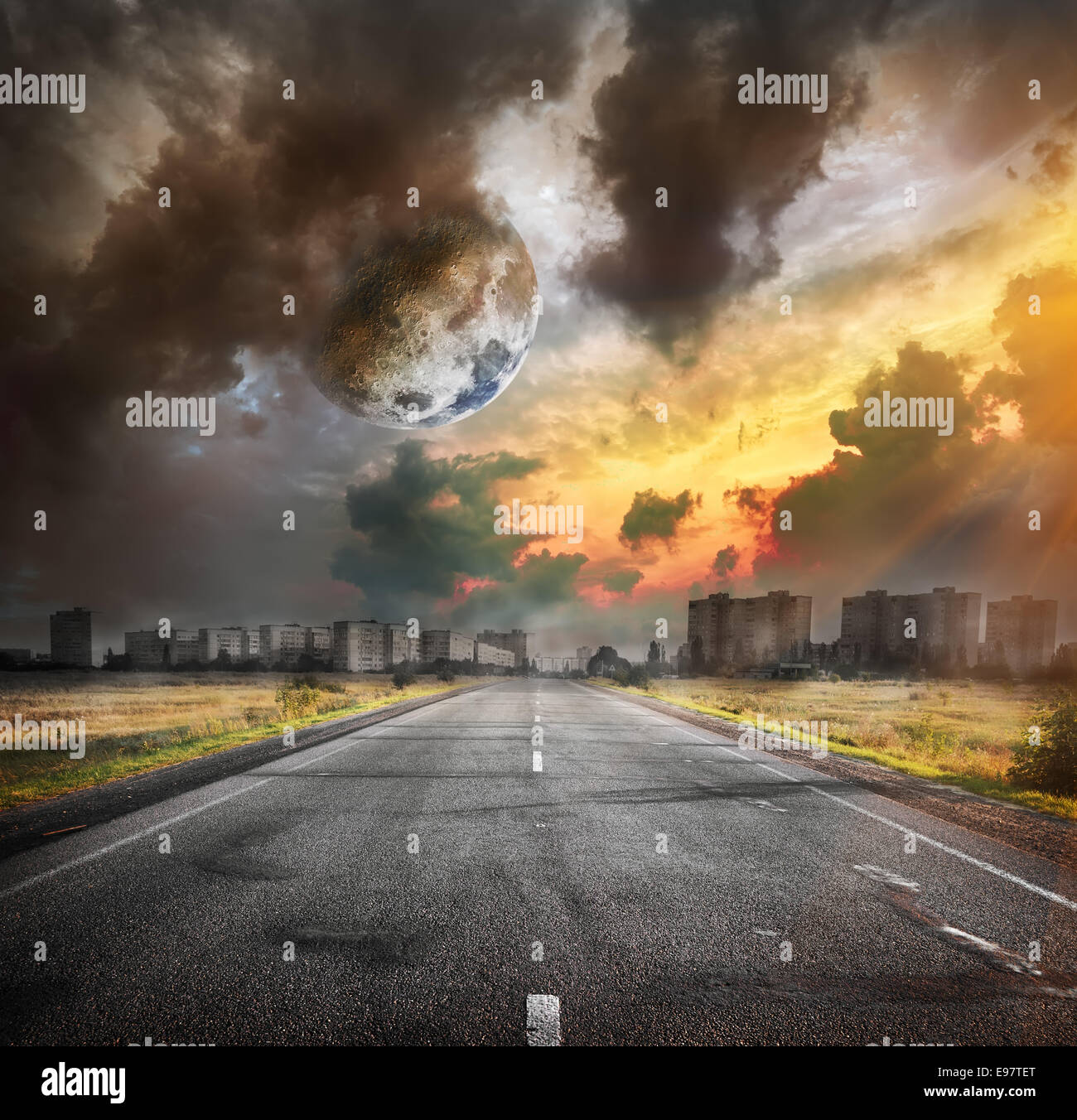 Road and the moon. Elements of this image furnished by NASA - Stock Image
