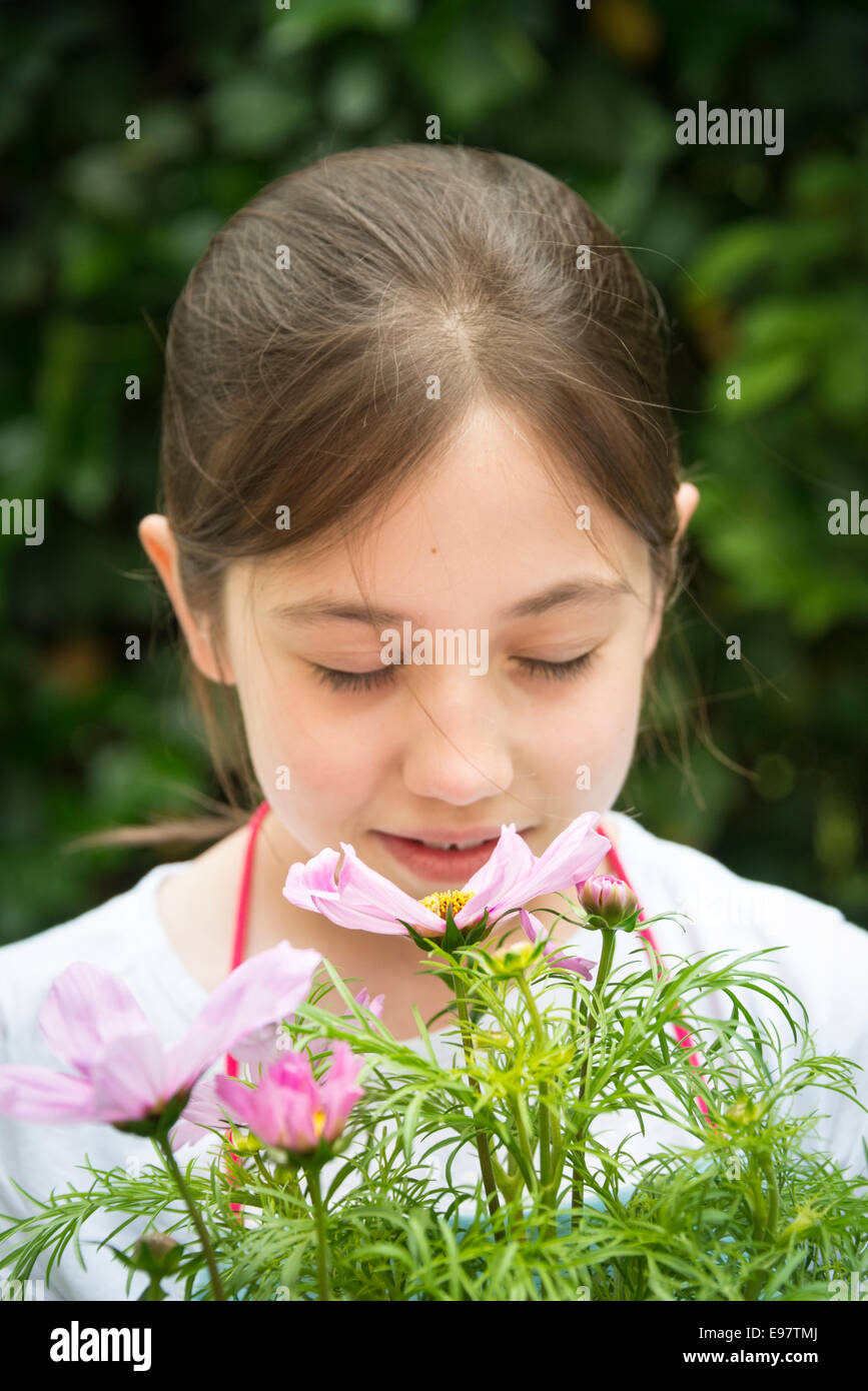 Girl with brown hair smelling flowers - Stock Image