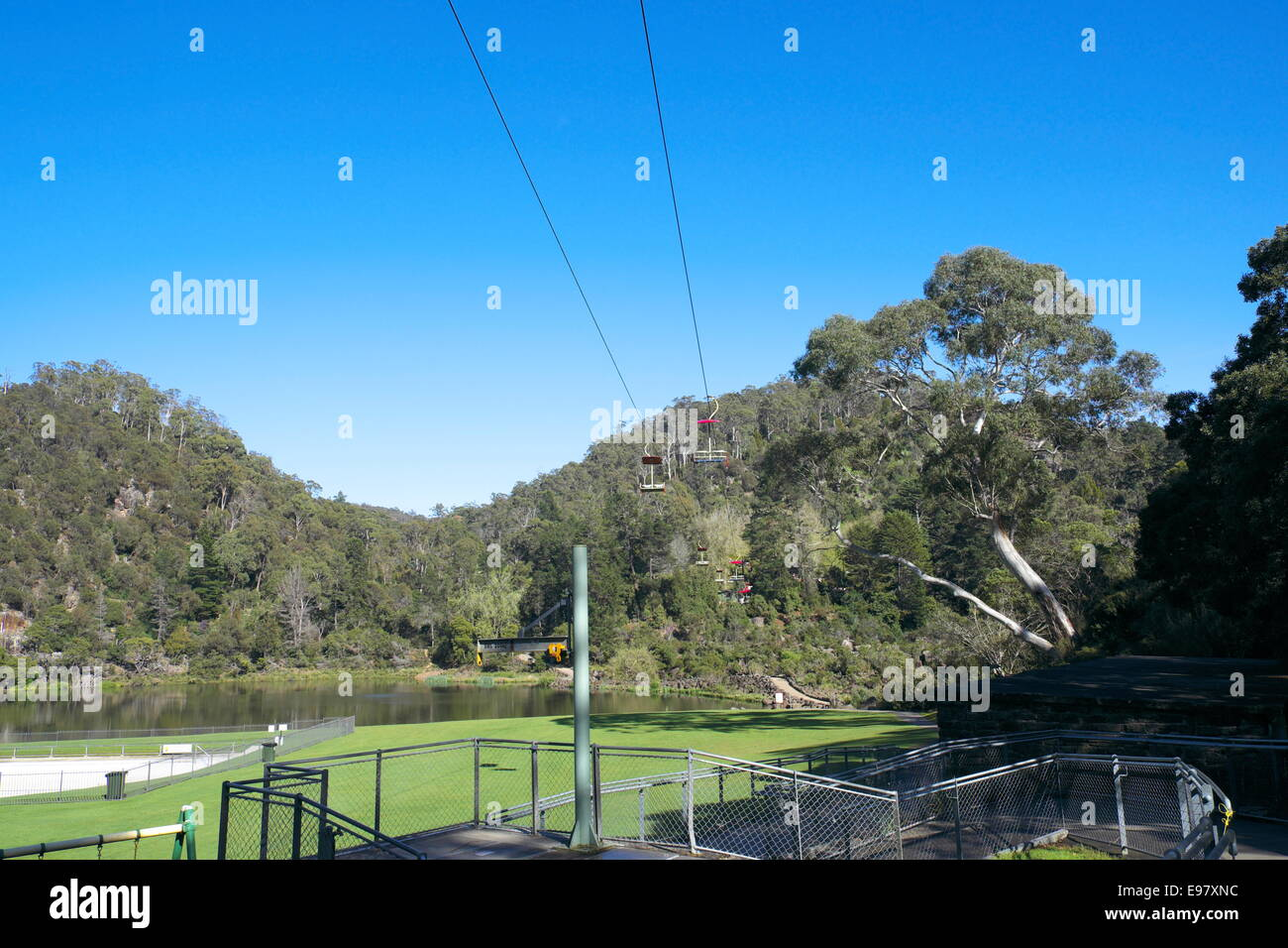 first basin chairlift covering 457 m at cataract gorge,launceston,tasmania,australia, the chairlift was built in Stock Photo