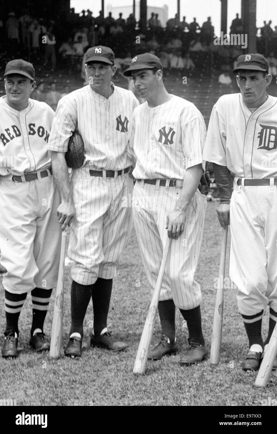 American Baseball players, from left, Joe Cronin, Bill Dickey, Joe DiMaggio and Charley Gehringer - Stock Image