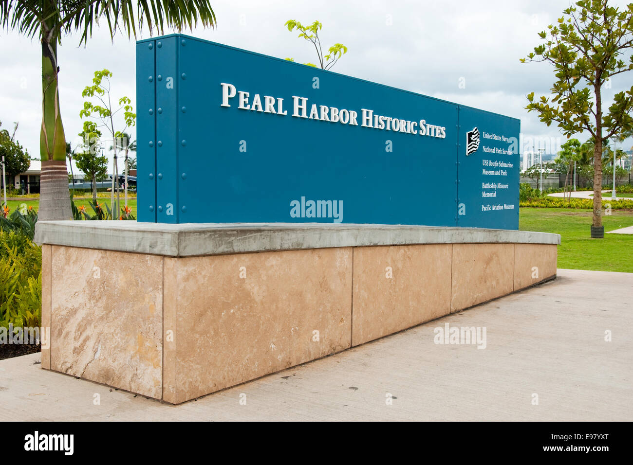 Pearl Harbor Historic Sites sign in Oahu Stock Photo