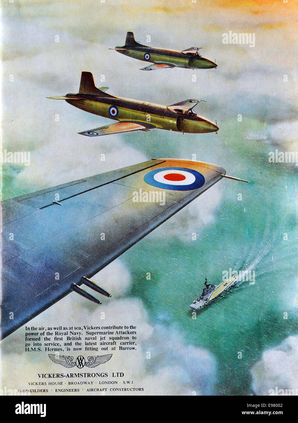 Advert by Vickers-Armstrong in the Coronation Naval Fleet Review programme 1953. Britain. - Stock Image