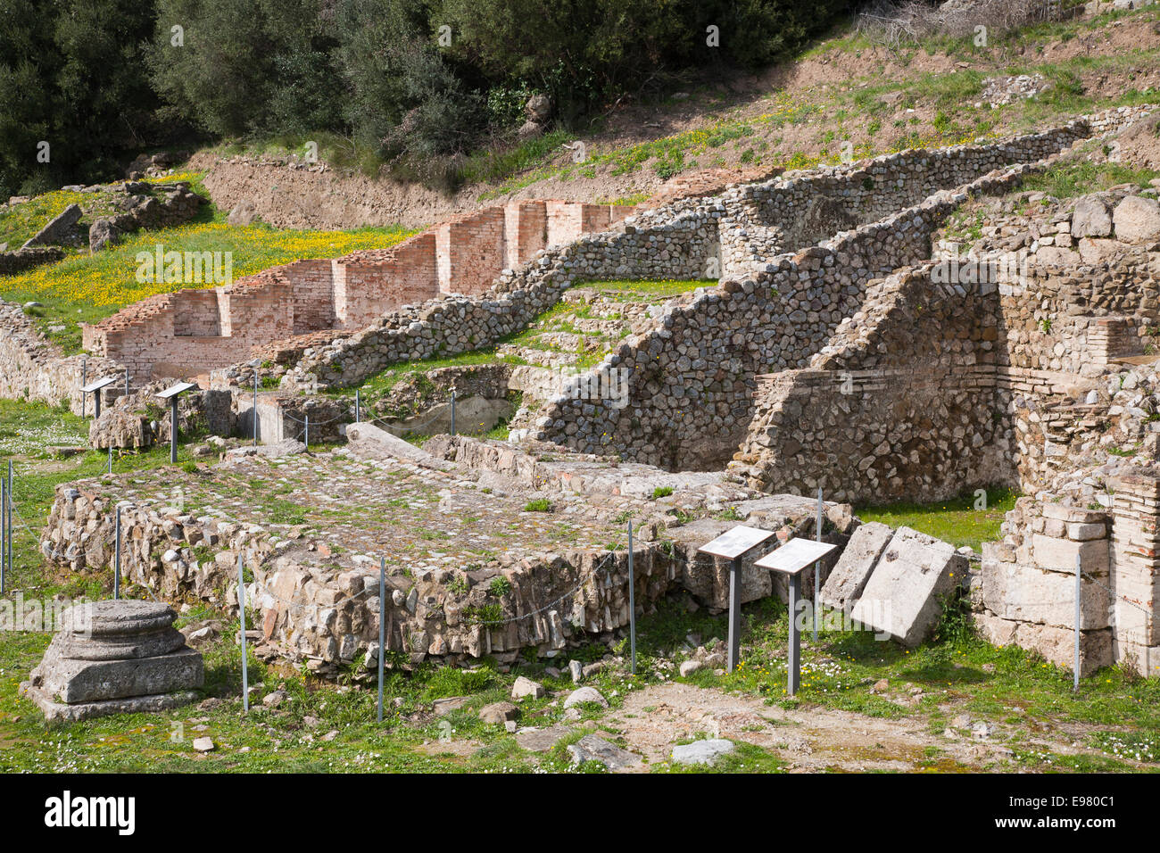 etruscan ruins, archaeological site, roselle, grosseto province, tuscany, italy, europe - Stock Image