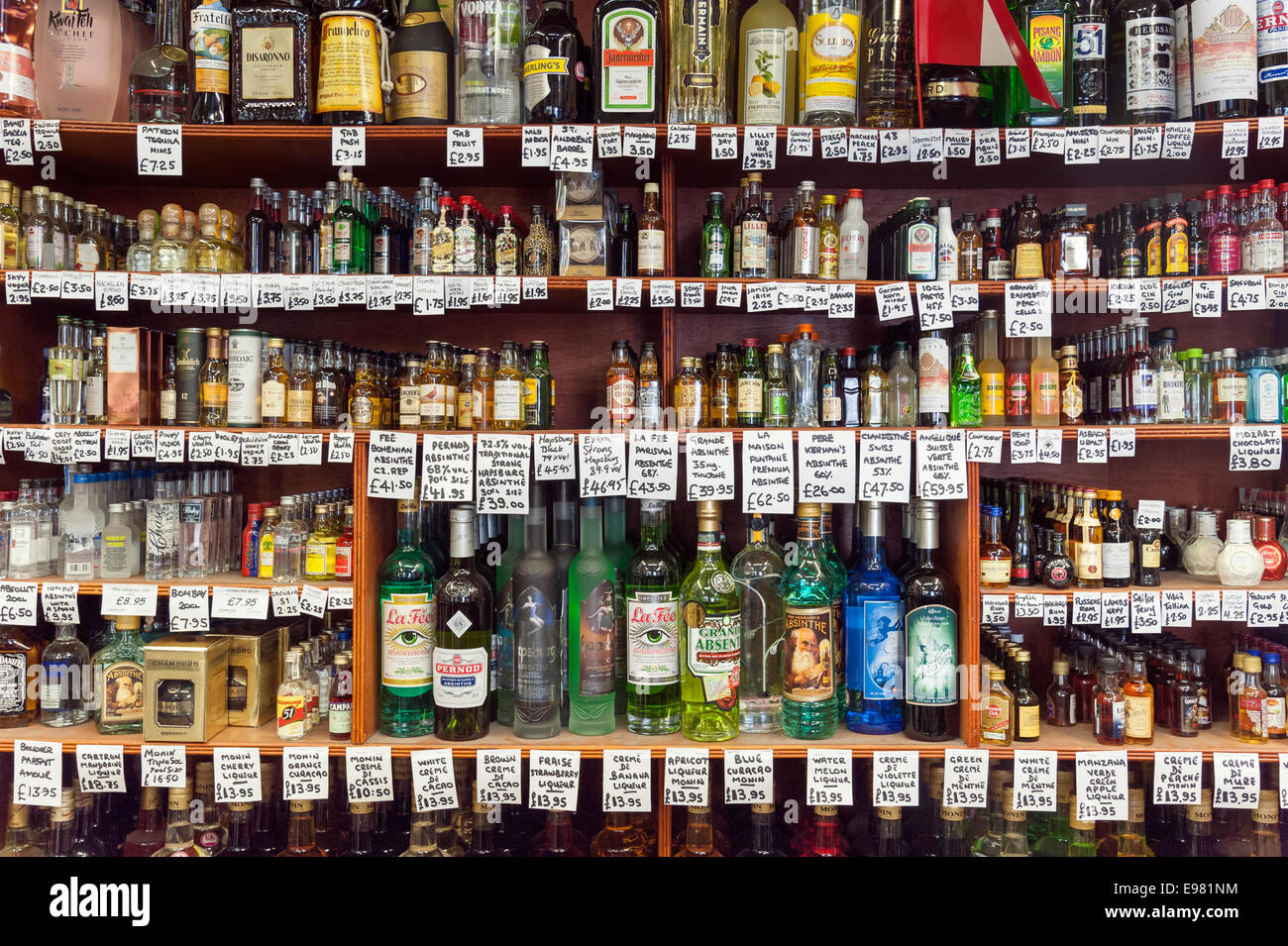Wide selection of alcoholic drinks at Gerry's Wine & Spirits in Old Compton Street, Soho, London, England, - Stock Image