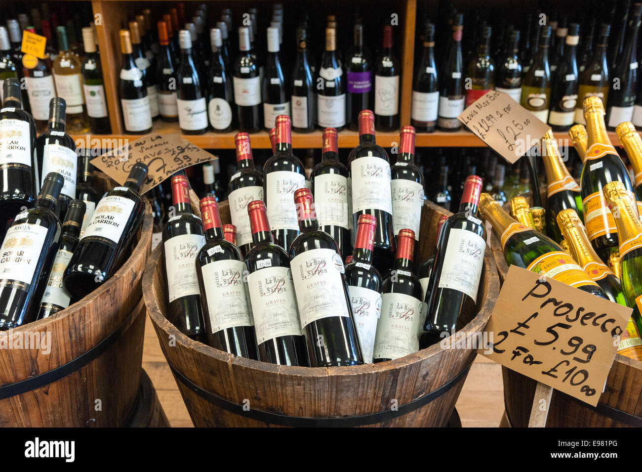 Wine bottles in local independent off licence, London, England, UK - Stock Image