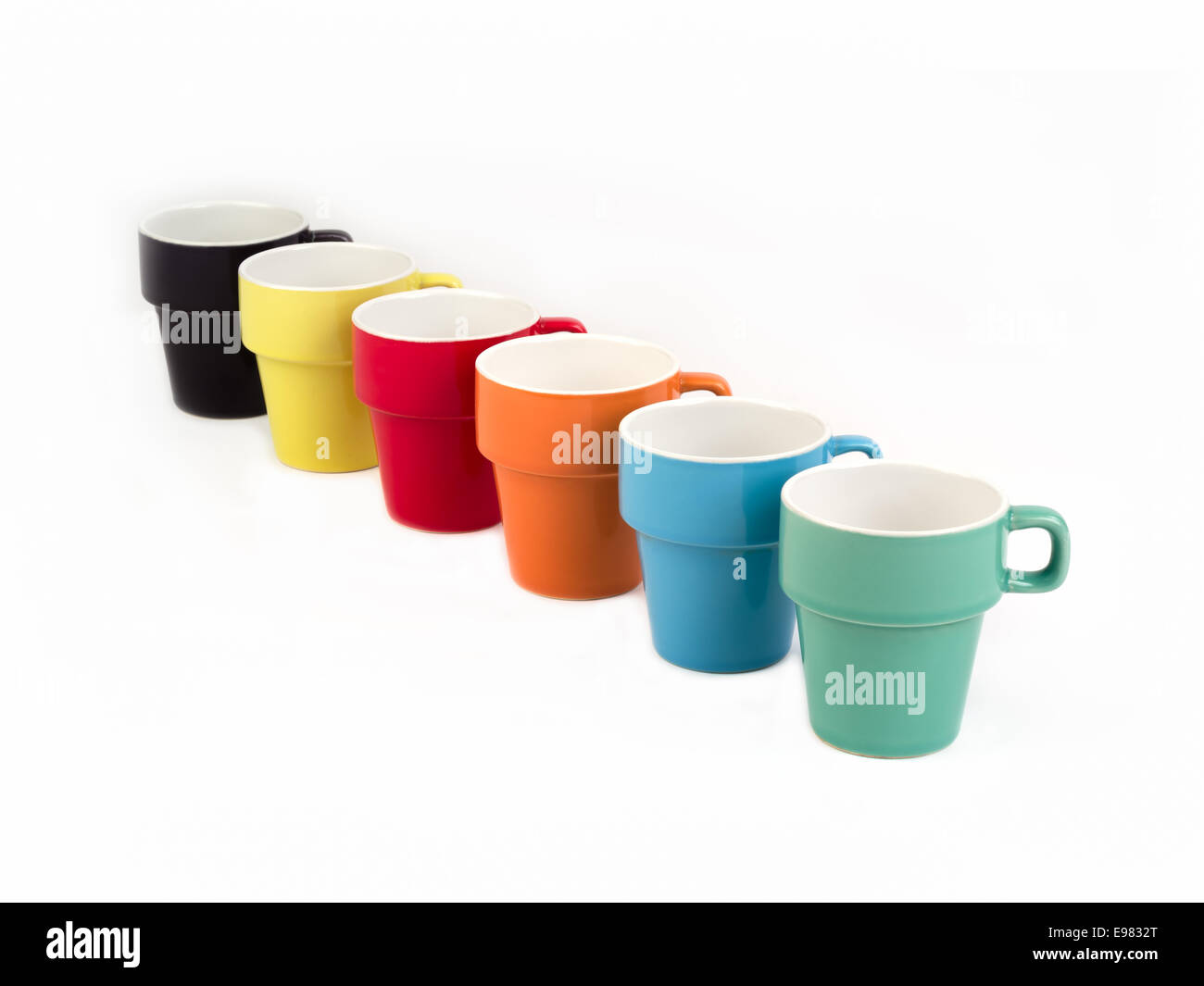 Stack of Six Colorful Cups. - Stock Image