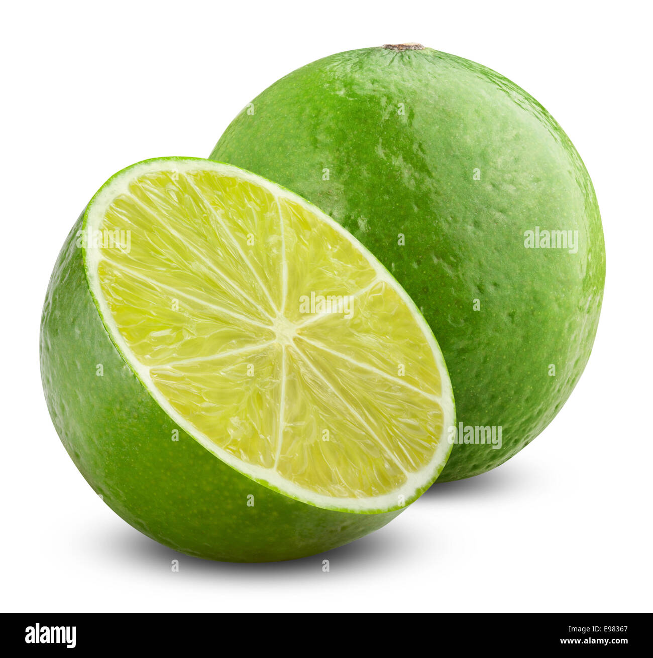 One and half limes on white background. Clipping Path - Stock Image