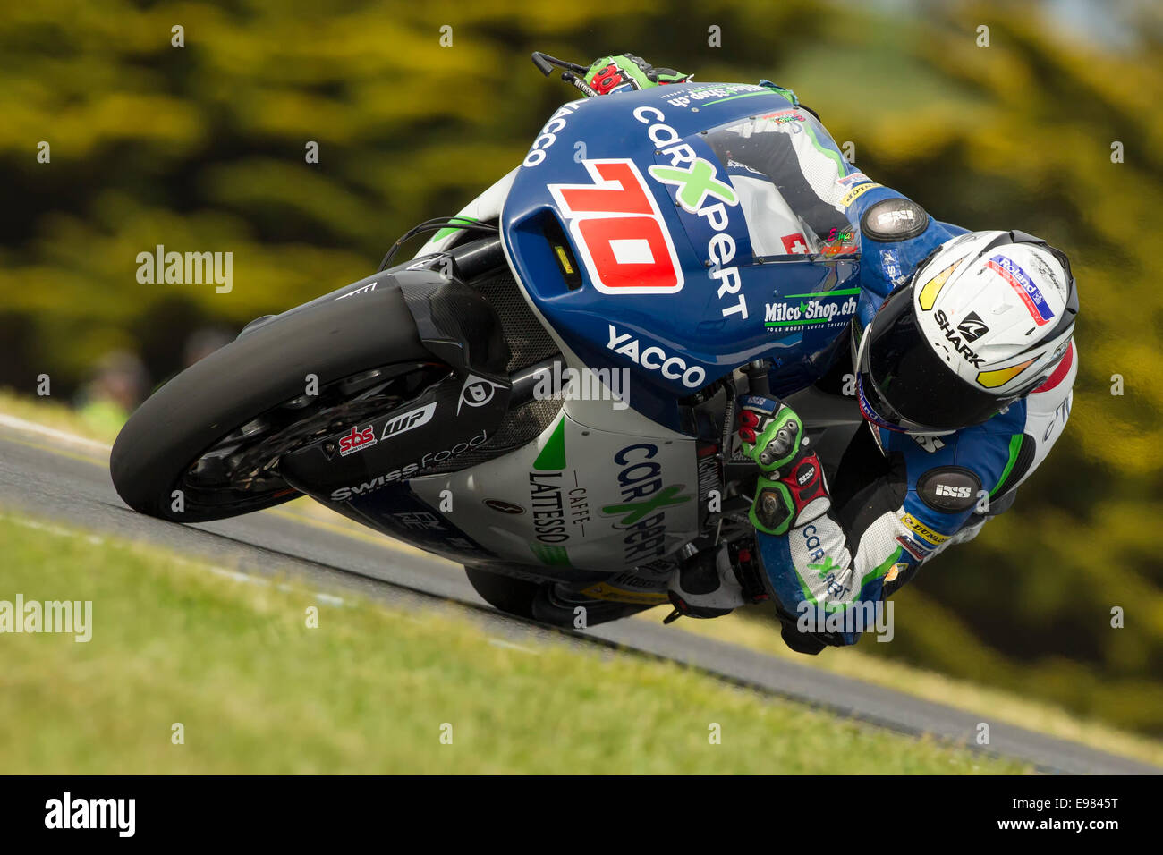 Swiss Moto2 rider Robin Mulhauser during Saturday qualifying practice of the 2014 Tissot Australian Motorcycle Grand - Stock Image