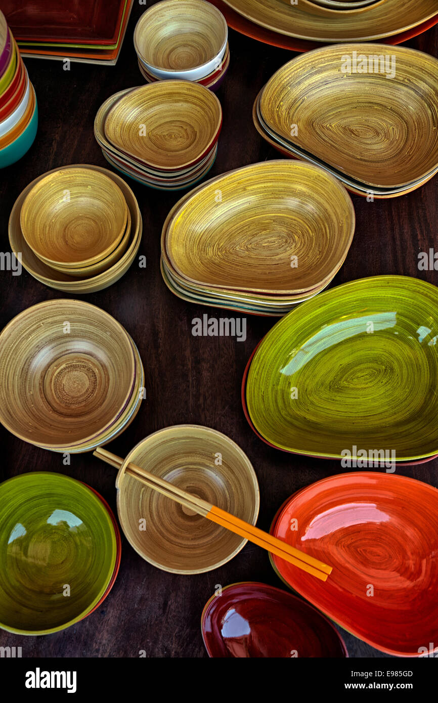 Highly polished and colourful bamboo wooden bowls, dishes and general household utensils. Thailand S. E. Asia - Stock Image
