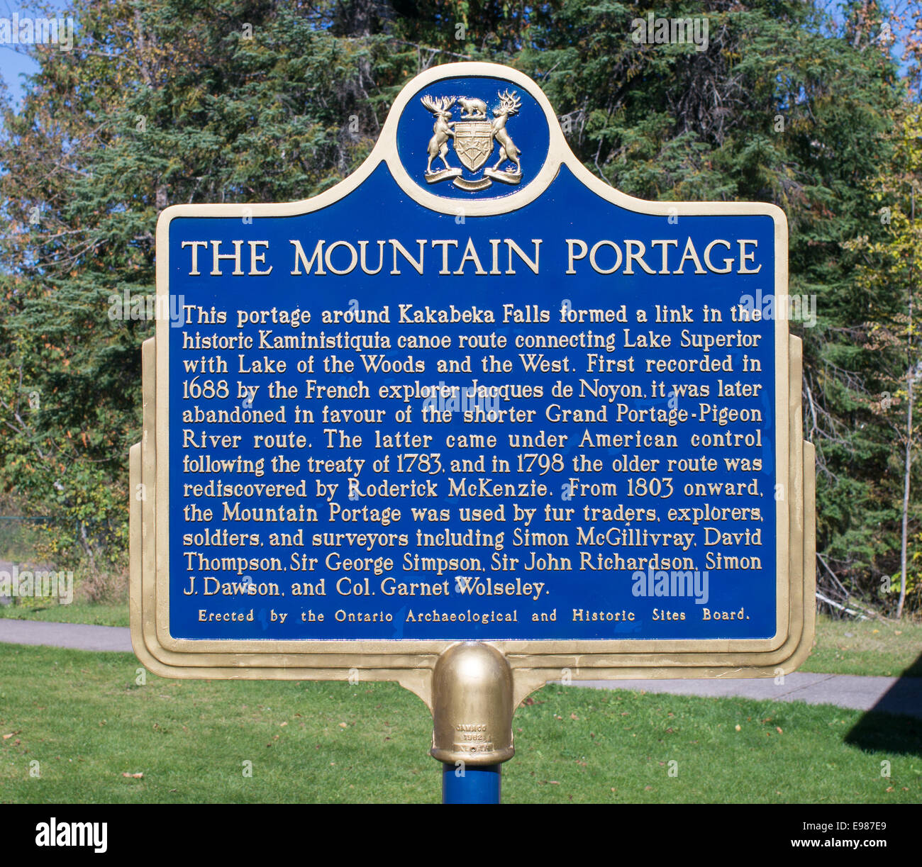 Sign The Mountain Portage at Kakabeka Falls, Ontario, Canada - Stock Image