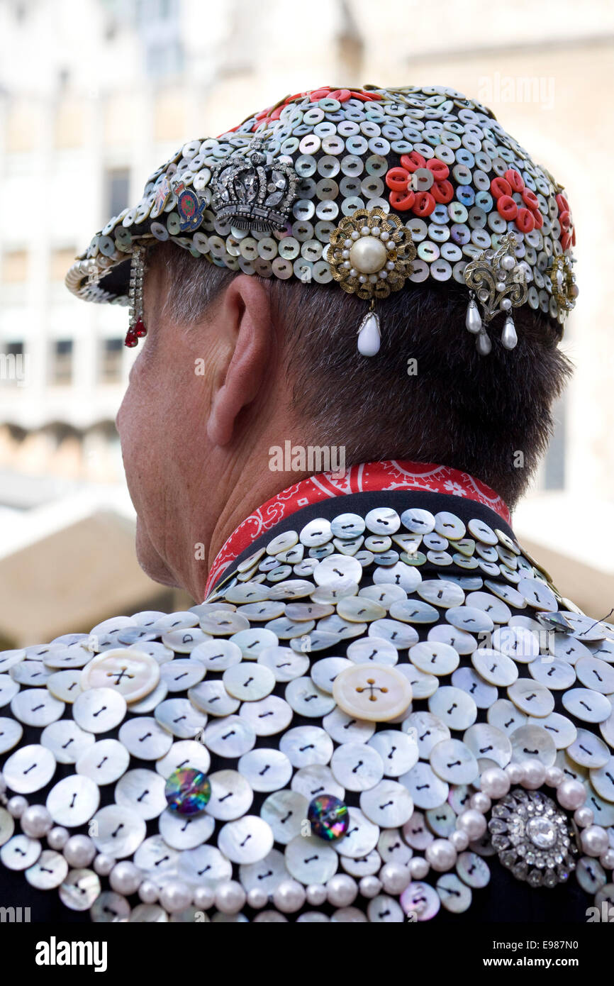 Pearly Kings and Queens known as pearlies at the New years Day Parade London 2014 - Stock Image