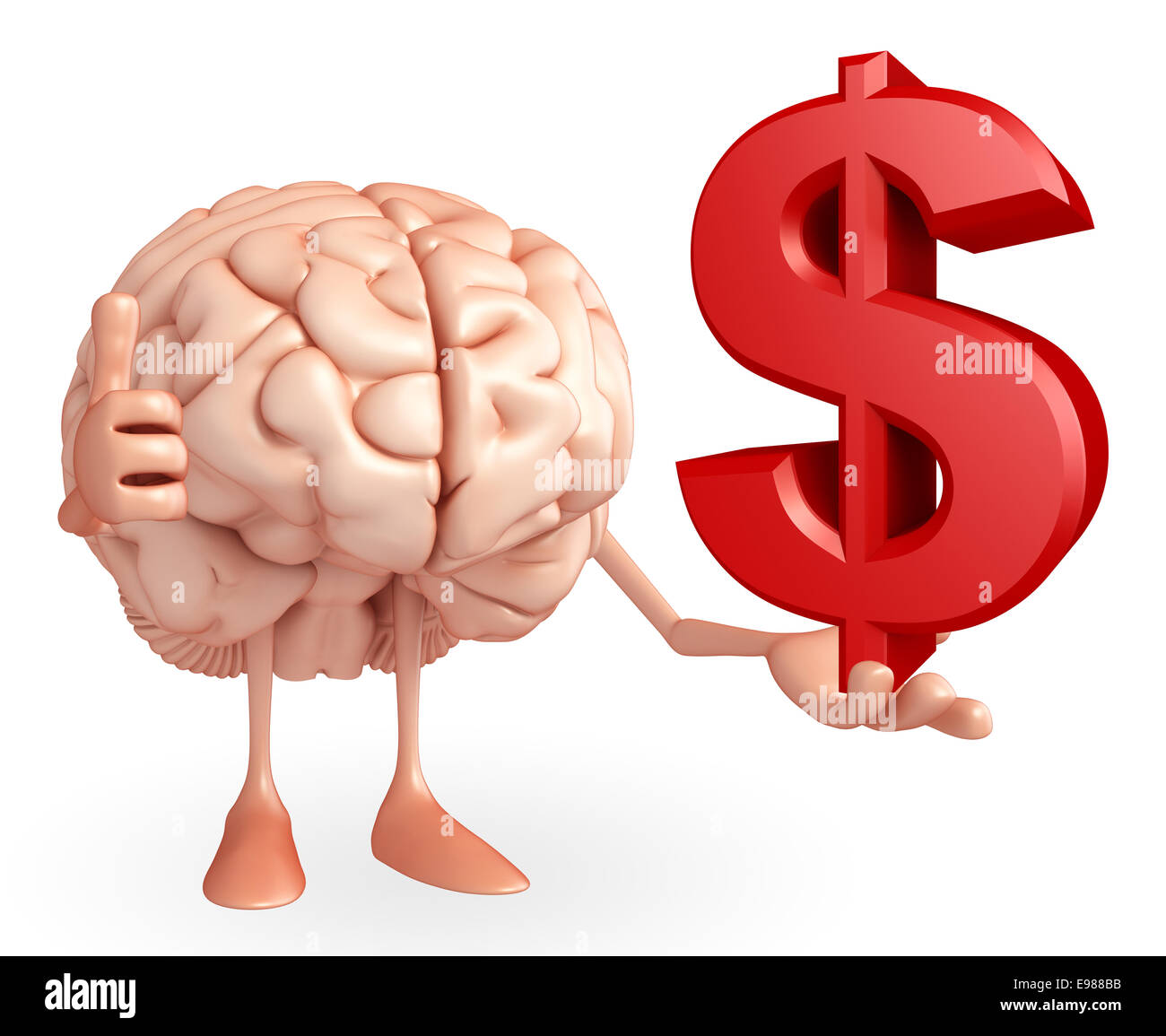 Cartoon character of brain with dollar sign Stock Photo