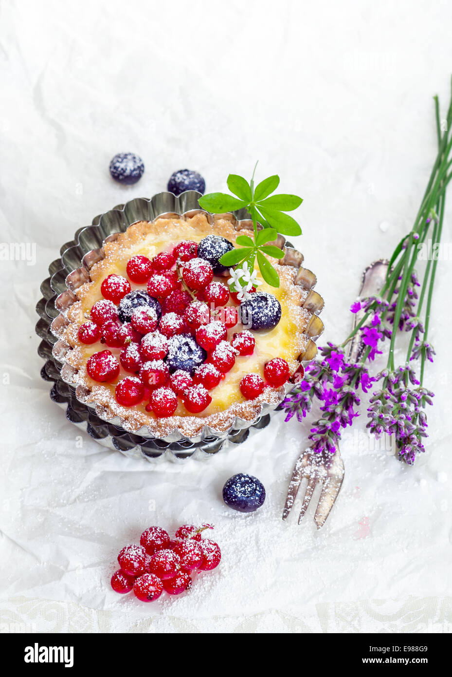 Overhead view of a delicious redcurrant tart dusted with sugar served in a fluted metal pie pan alongside a fork - Stock Image