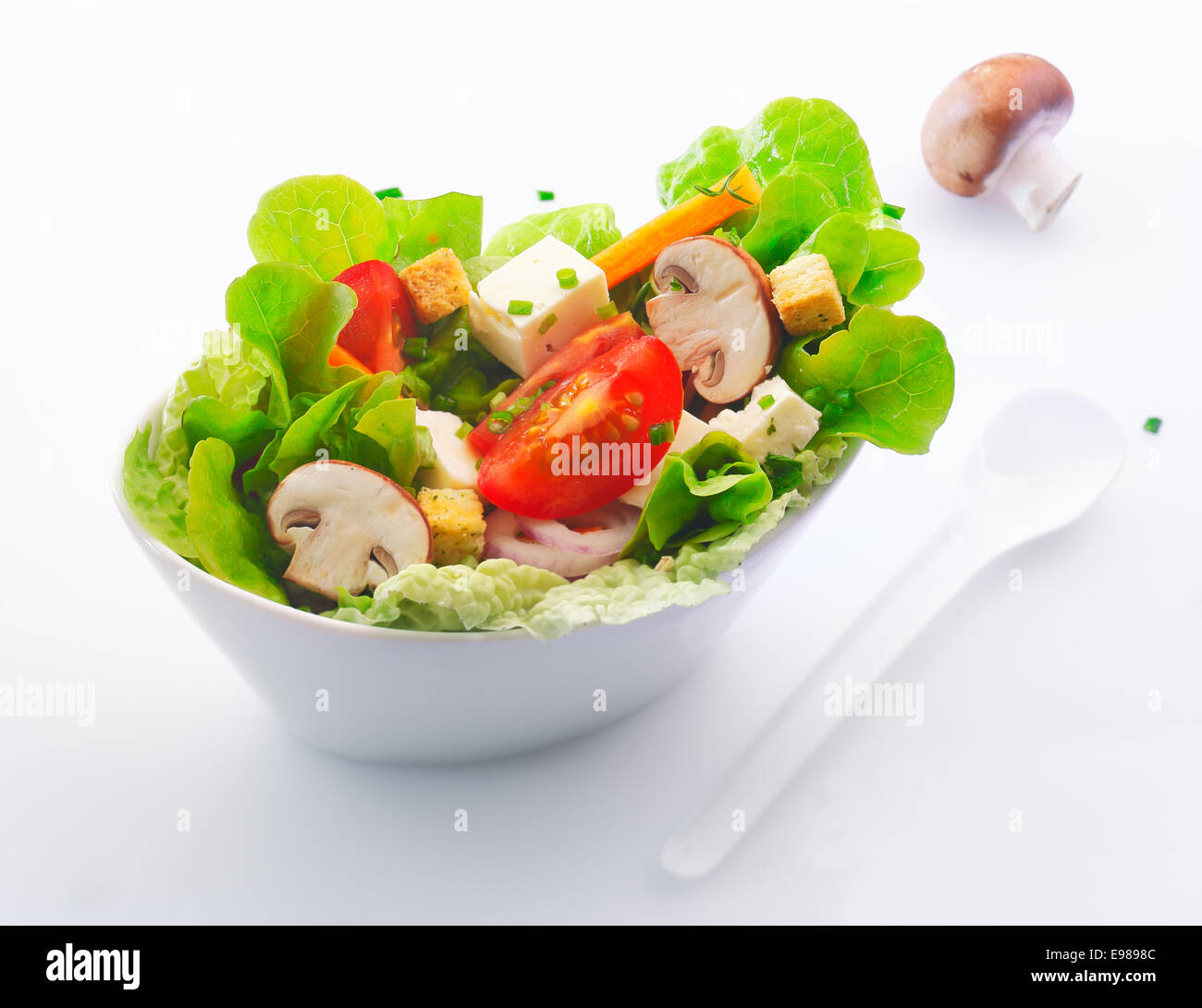 Individual side serving in a white china dish of fresh mixed green salad with sliced fresh mushrooms , tomato and - Stock Image