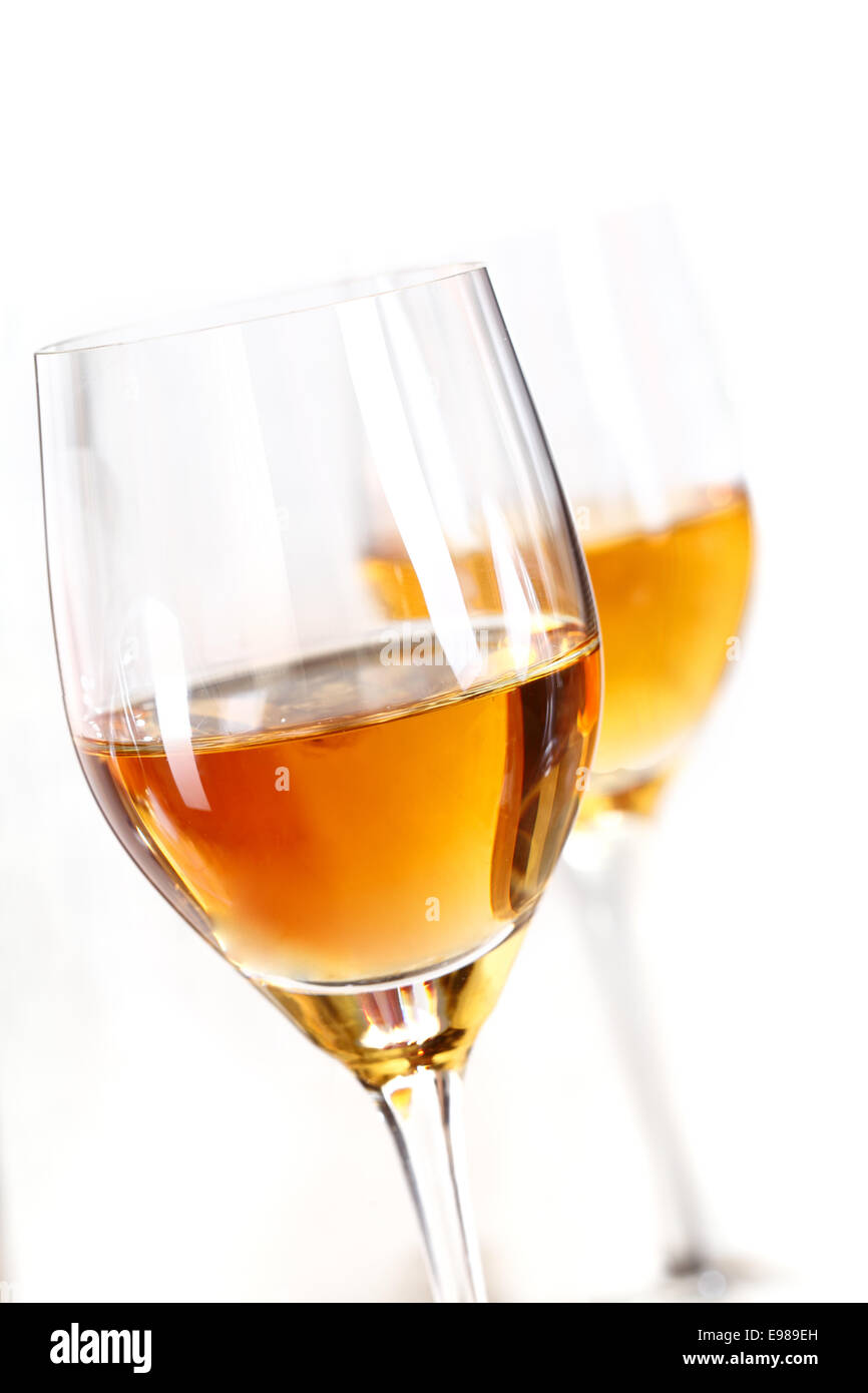 Two glasses of sherry isolated on white background - Stock Image