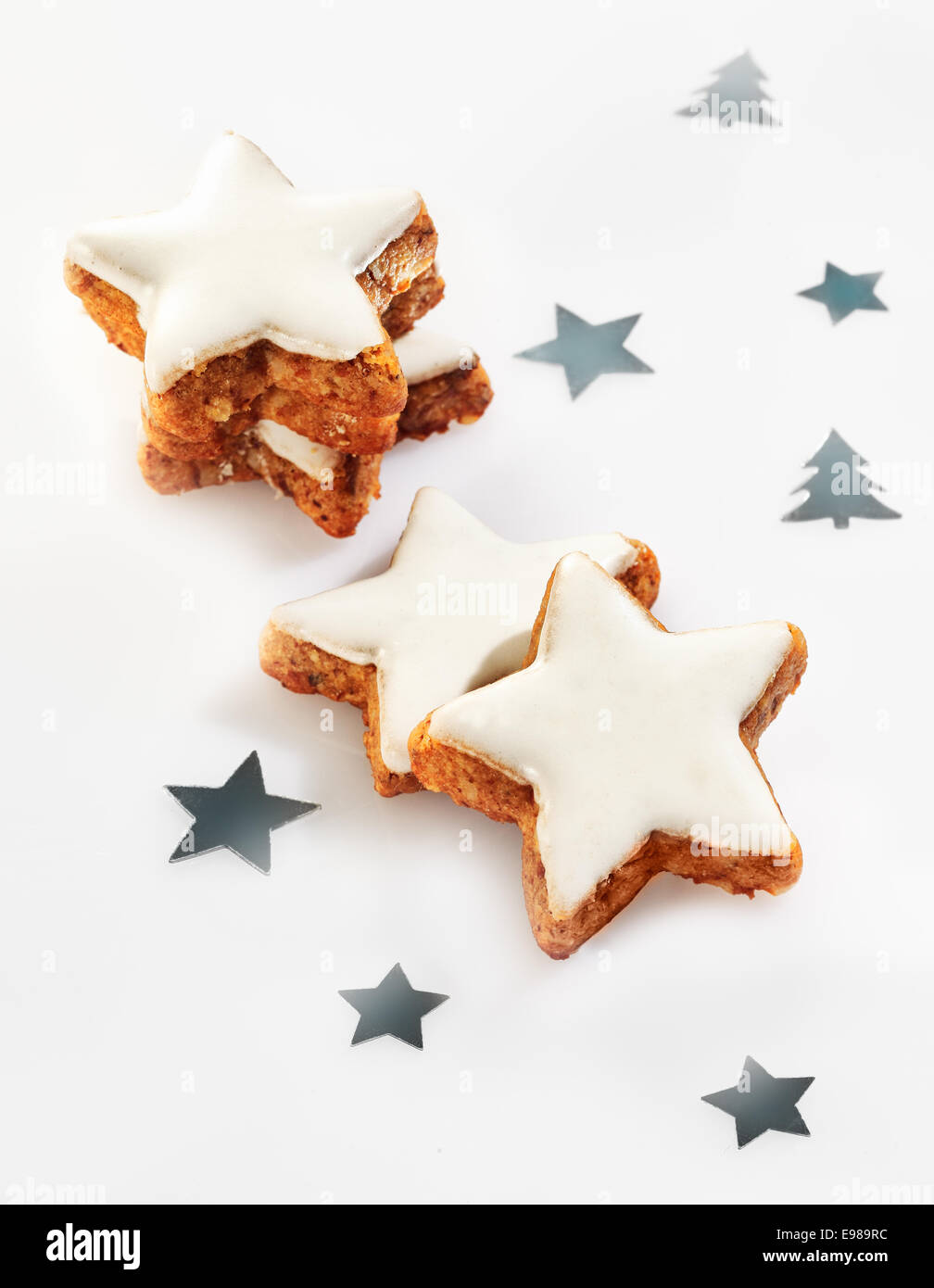 Delicious Fresh Crunchy Christmas Star Cookies With Decorative White
