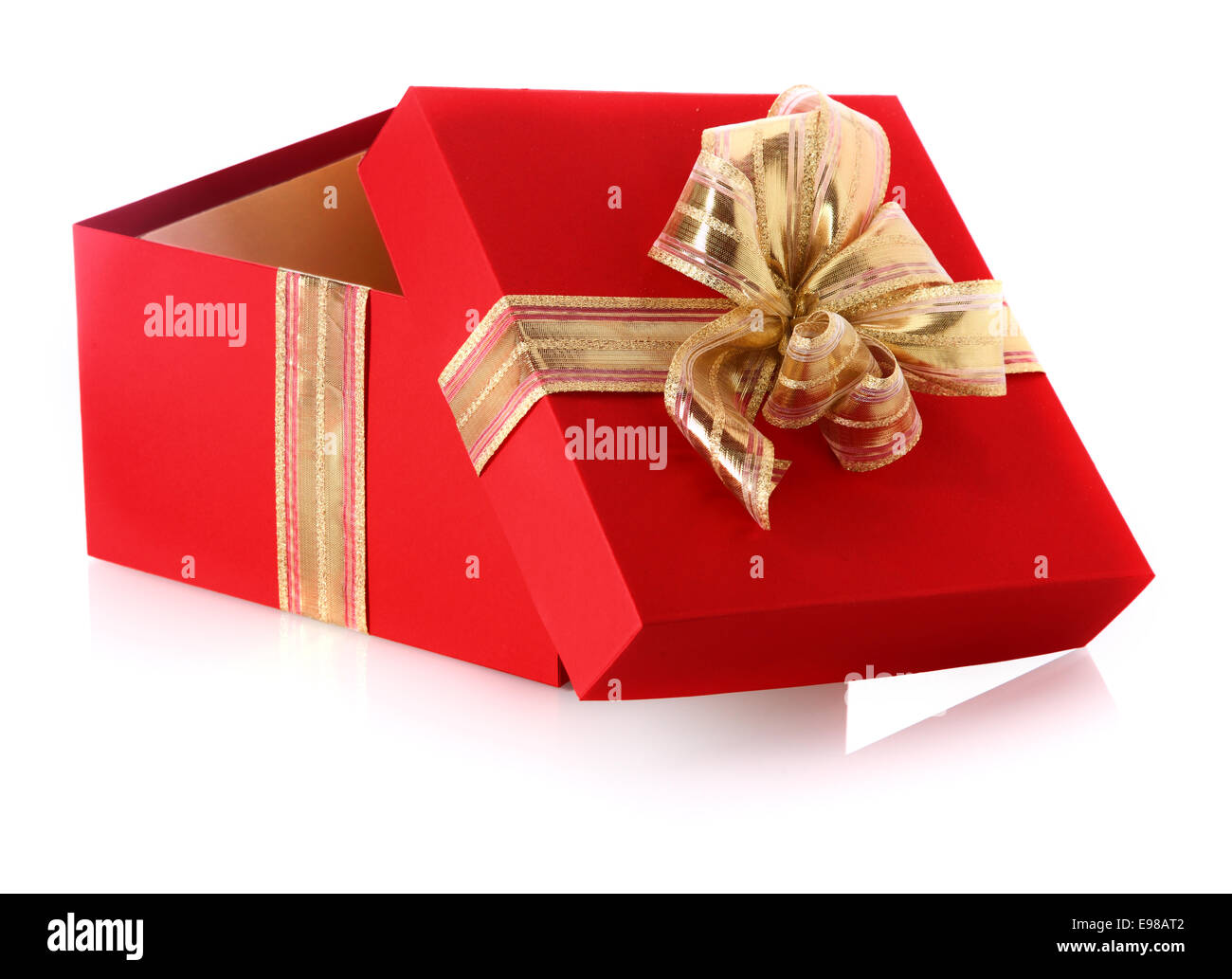 Festive Red Gift Box With An Open Lid And Golden Bow For Celebrating