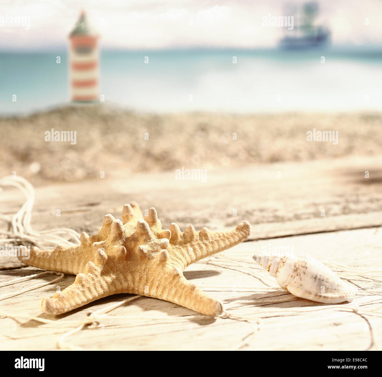 Starfish and a seashell lying in the hot summer sun on old wooden boards at the seaside with a beach and lighthouse - Stock Image
