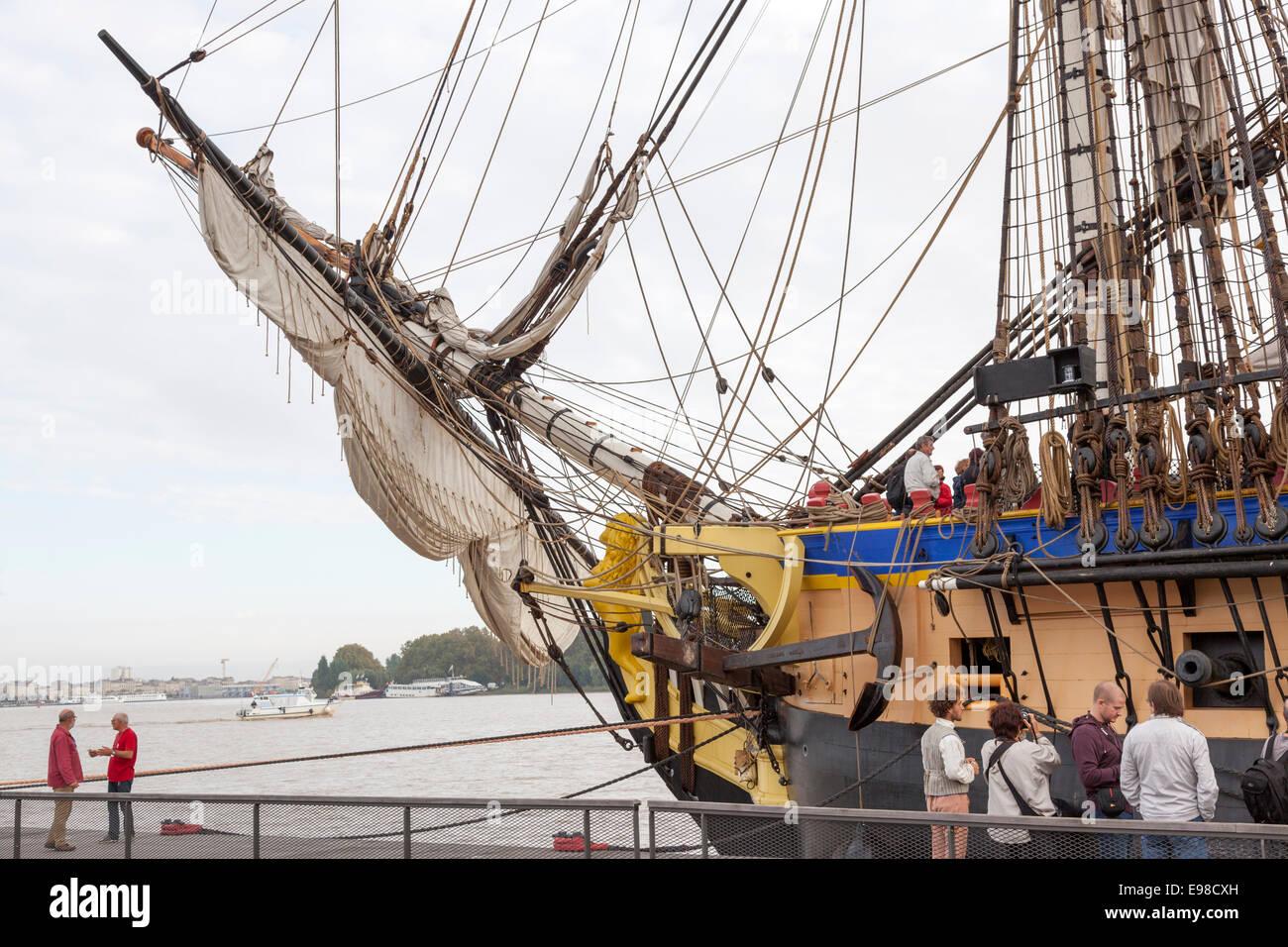 Figurehead and anchor of the frigate l'Hermione. That sculpture shows a lion. Figure de proue et ancre de la - Stock Image