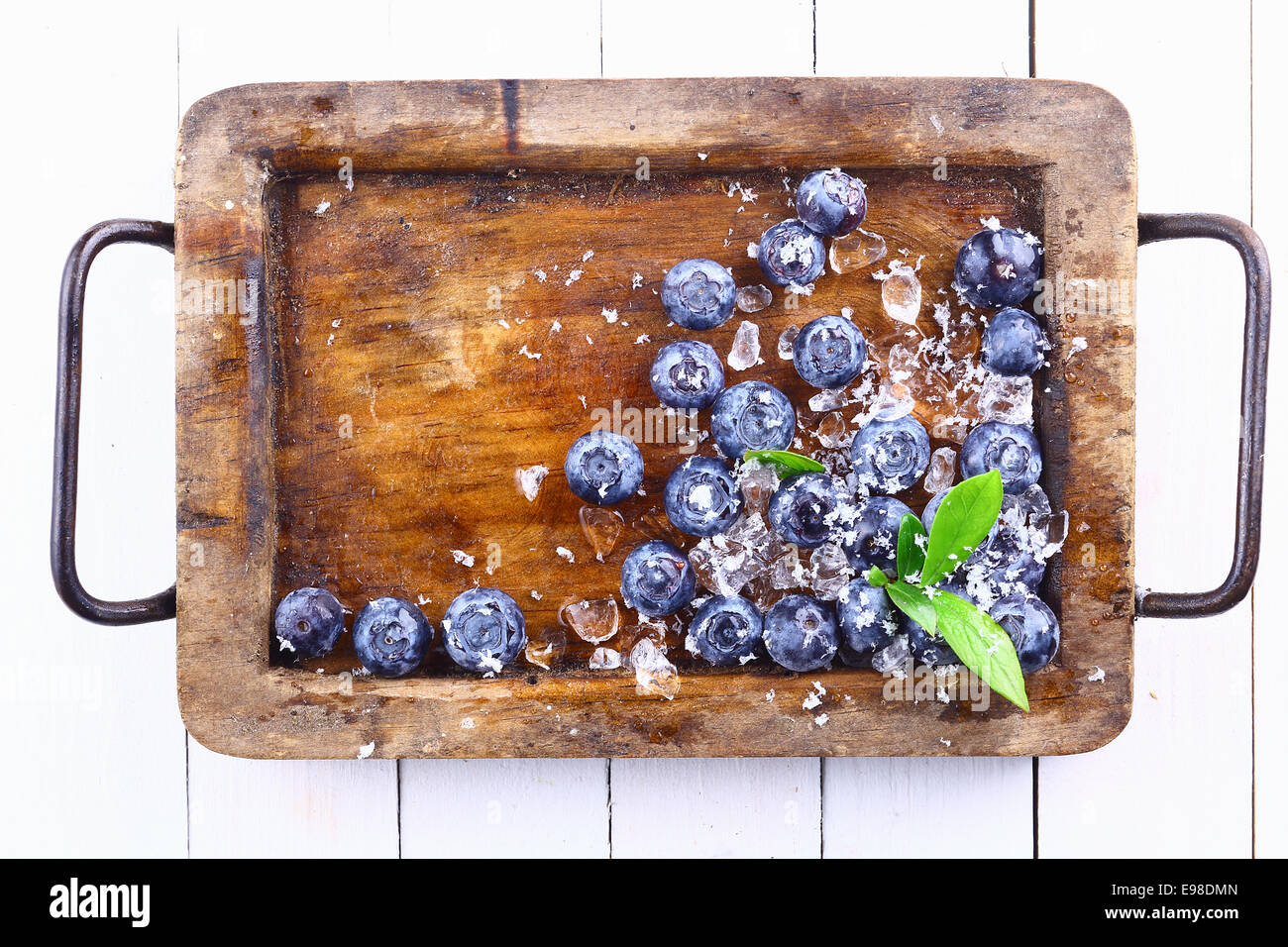 Ripe blueberries or bilberries and ice in an old grungy wood tray with a small green leafy branch over a white wooden - Stock Image