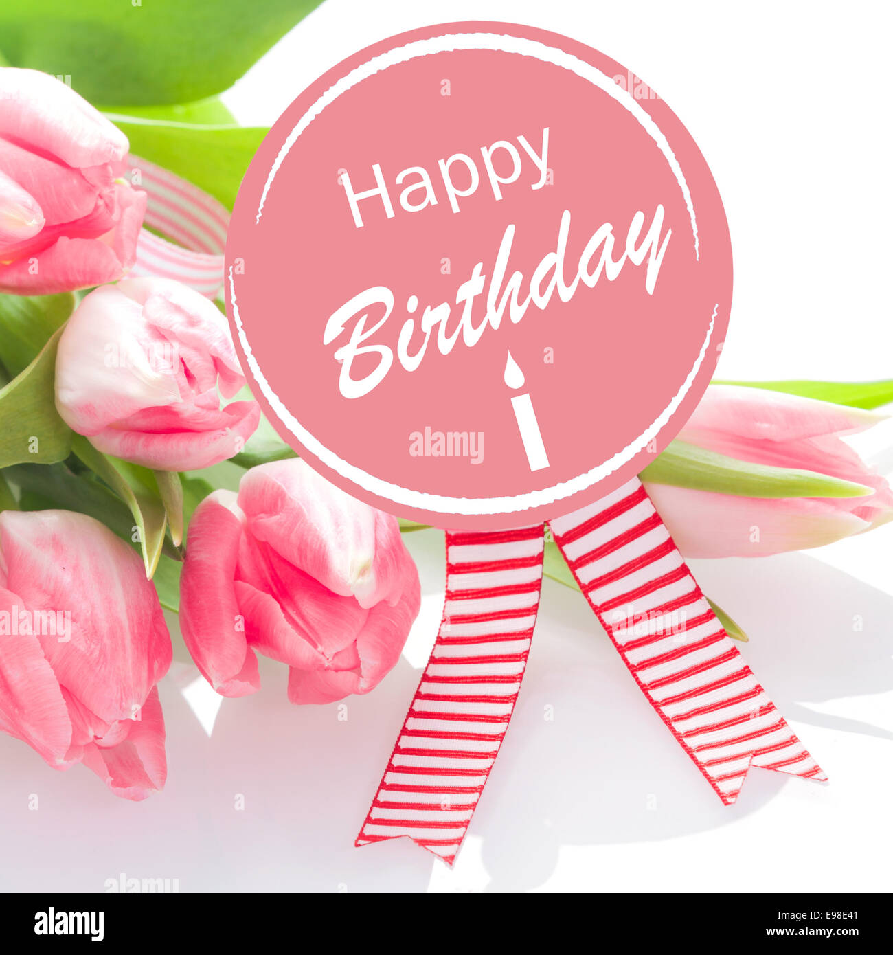 Happy Birthday Wishes On A Round Pink Rosette With Colourful Striped Ribbons Gift Of Bouquet Natural Fresh Tulips For Loved One Or