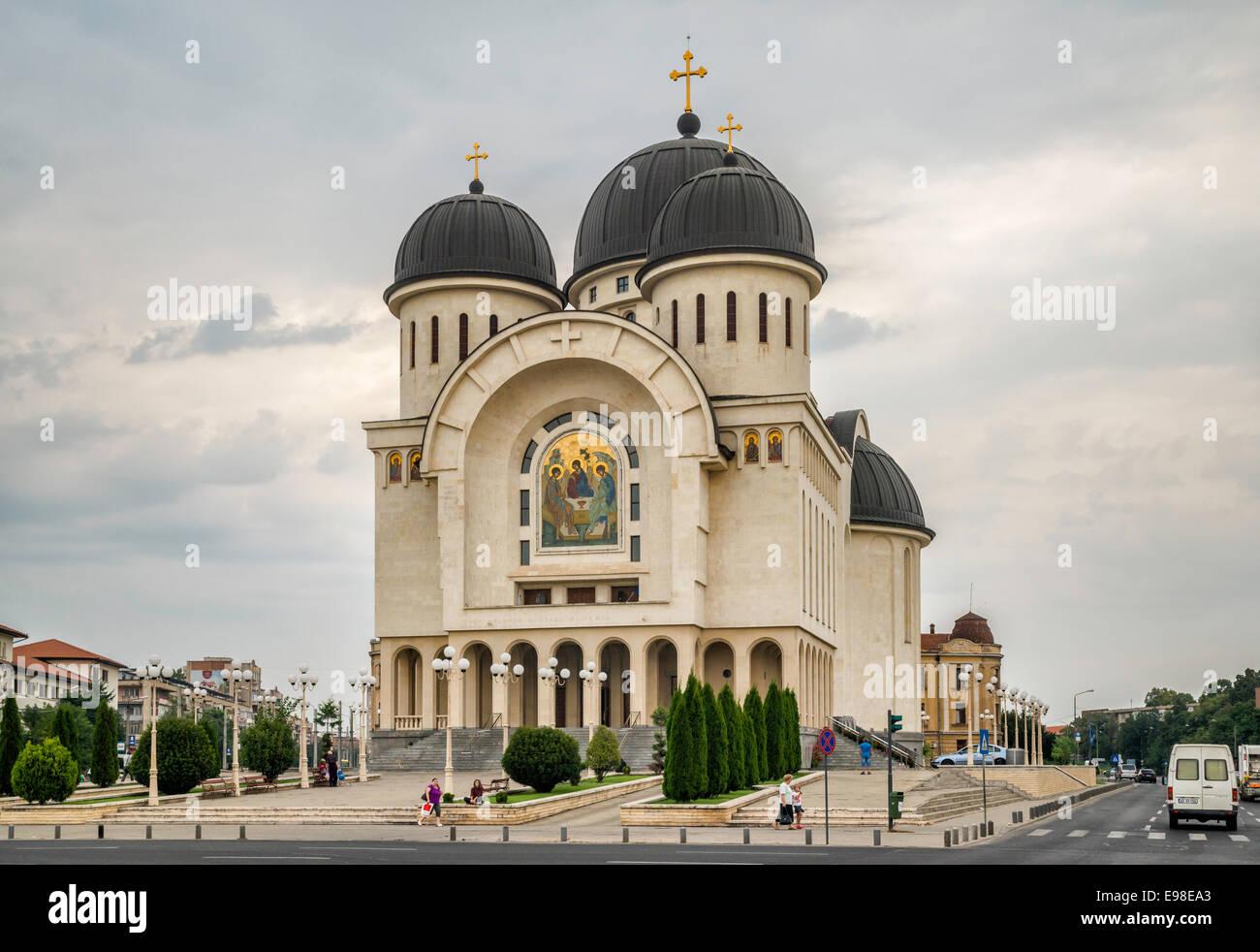 New Holy Trinity Orthodox Cathedral in center of Arad, Crisana Region, Romania - Stock Image