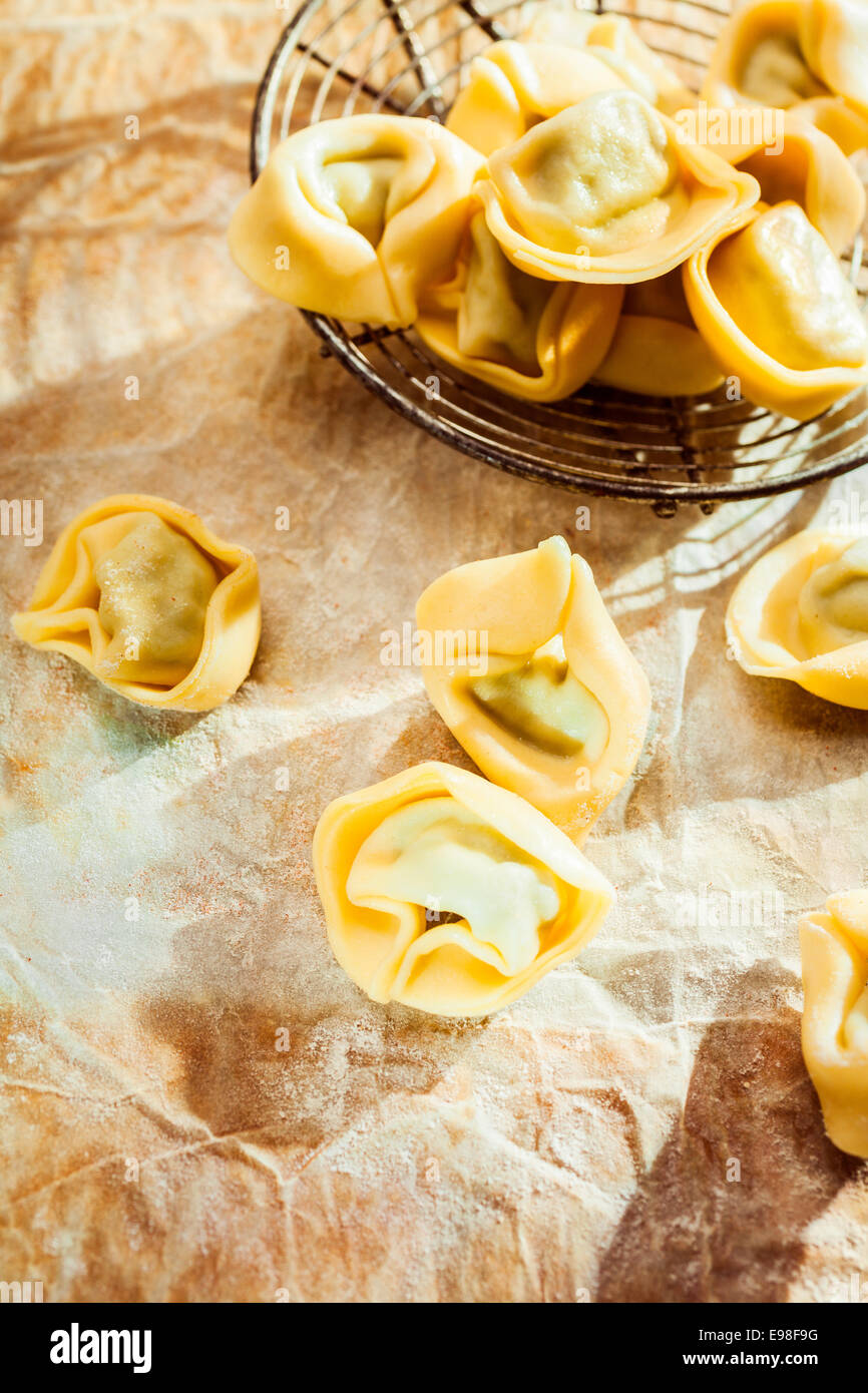 Uncooked savory Italian tortellini ring-shaped pasta for traditional Mediterranean cuisine on crumpled paper on - Stock Image
