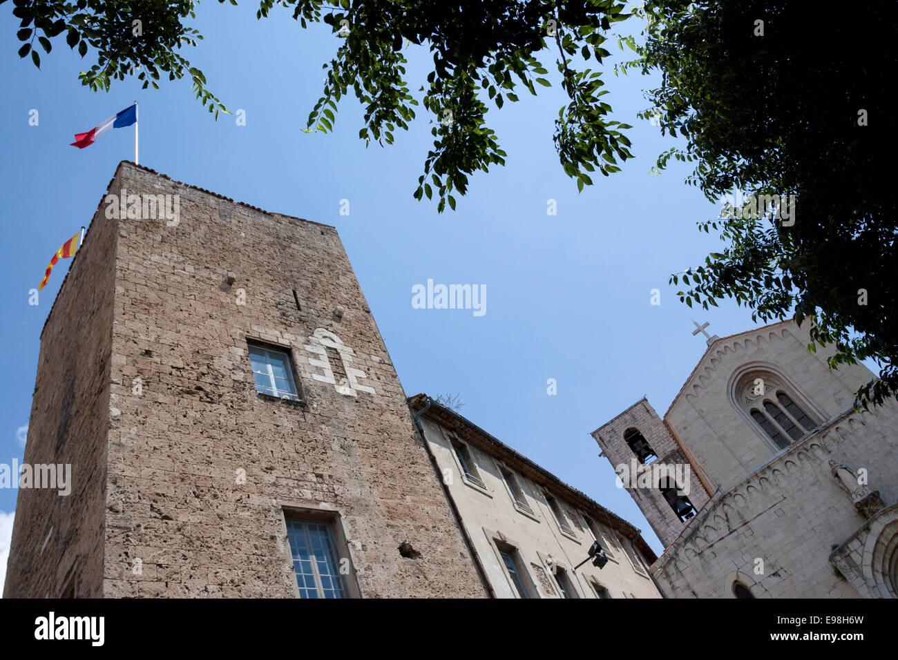 Buildings and bell tower of Cathédrale Notre-Dame-du-Puy. Grasse, Provence-Alpes-Côte d'Azur. France Stock Photo