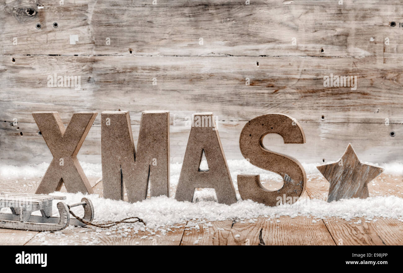 Wood Craft Rustic Christmas Background With Wooden Letters Spelling