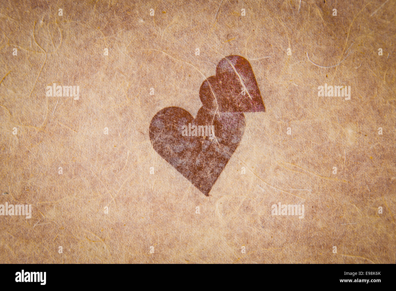 Vintage Textured Paper With Heart And Corner Vignetting Blank For Valentines Message Copyspace