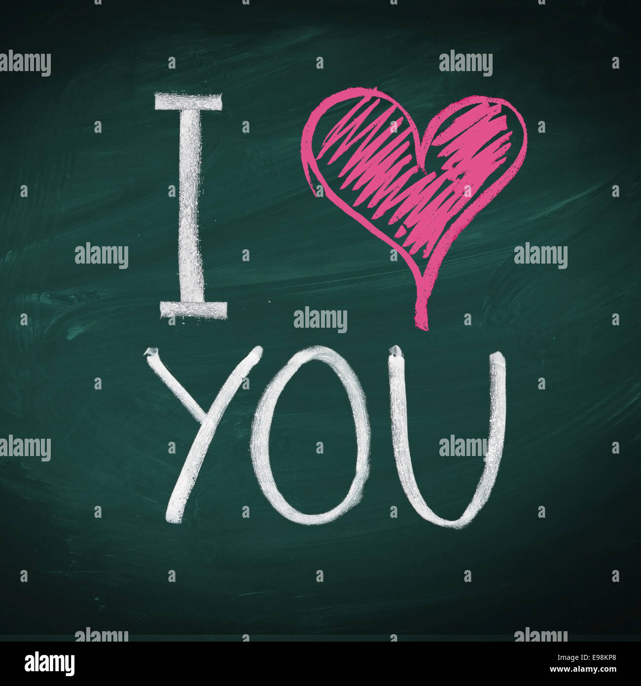 I Love You Handwritten Message On A Chalkboard With An Illustrated