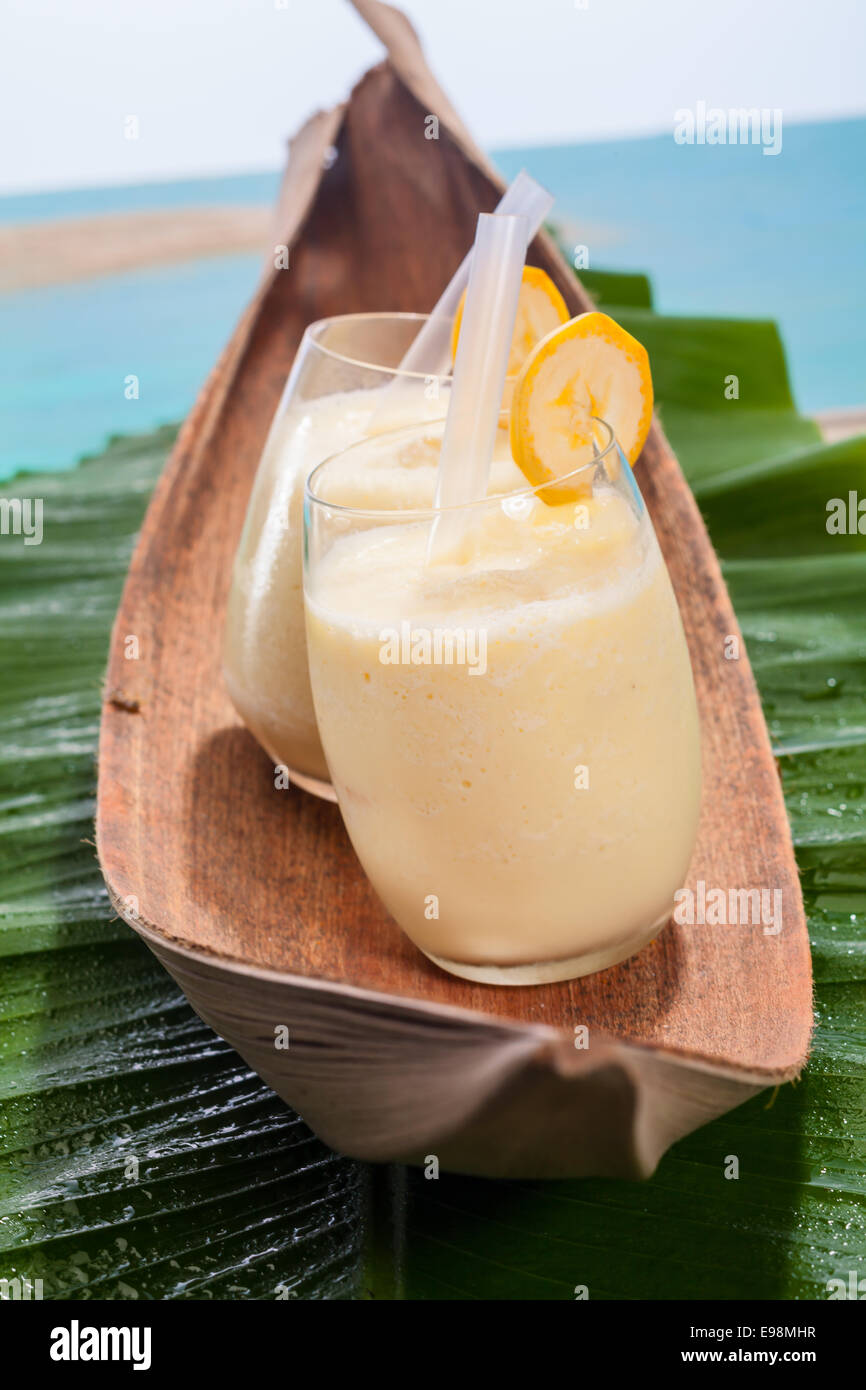 Two glasses of healthy sweet velvety banana smoothies served on a banana frond on a tropical beach - Stock Image