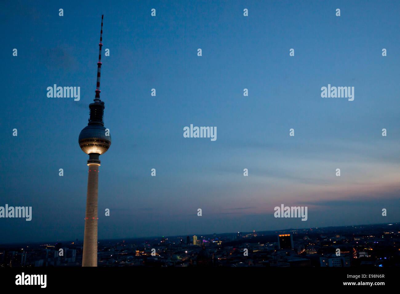 Fernsehturm television tower at dusk in a summer of 2014. Berlin, Berlin-Brandenburg. Germany - Stock Image