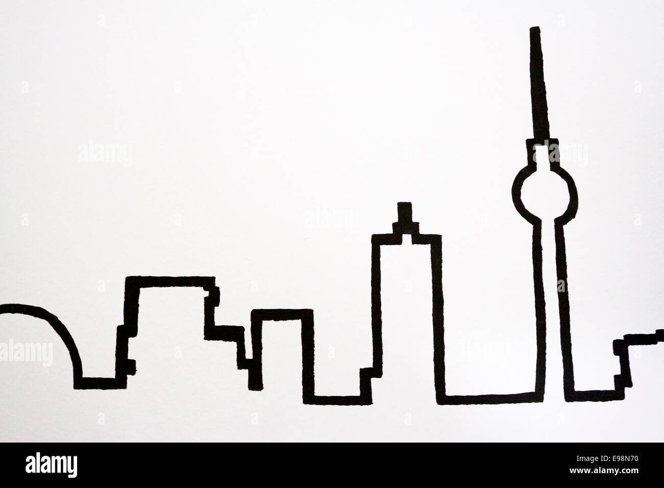 Silhouettes of the most famous landmarks Berlin. Berlin, Berlin-Brandenburg. Germany. Berlin, Berlin-Brandenburg. - Stock Image