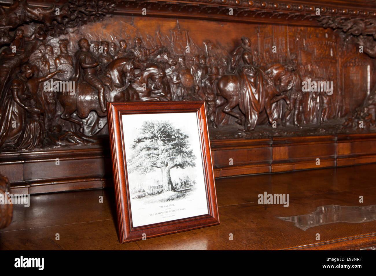 UK, England, Warwickshire, Warwick Castle, the Kenilworth Buffet made from a single oak tree - Stock Image