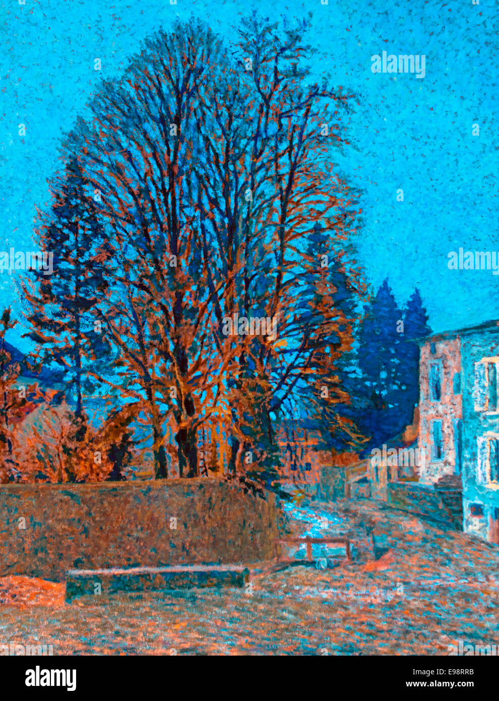Les grandes ormes - Large elms 1901 Auguste Michel Colle 1872-1949 France French - Stock Image