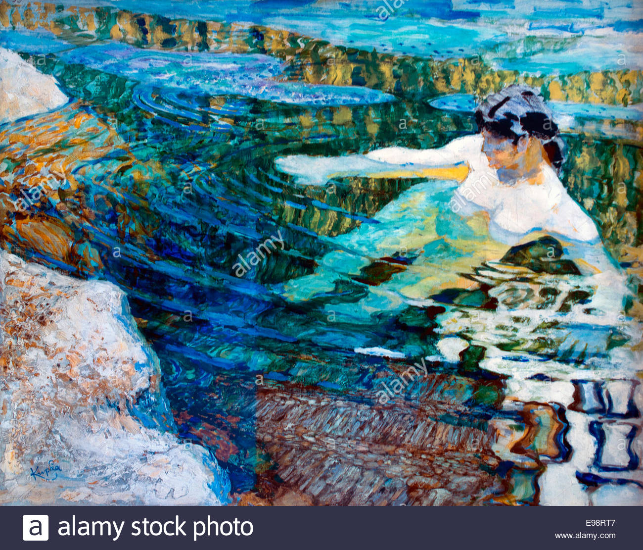 Eau , La Baigneuse - Water, The Bather 1906 by Frantisek Kupka  Czech Republic - Stock Image