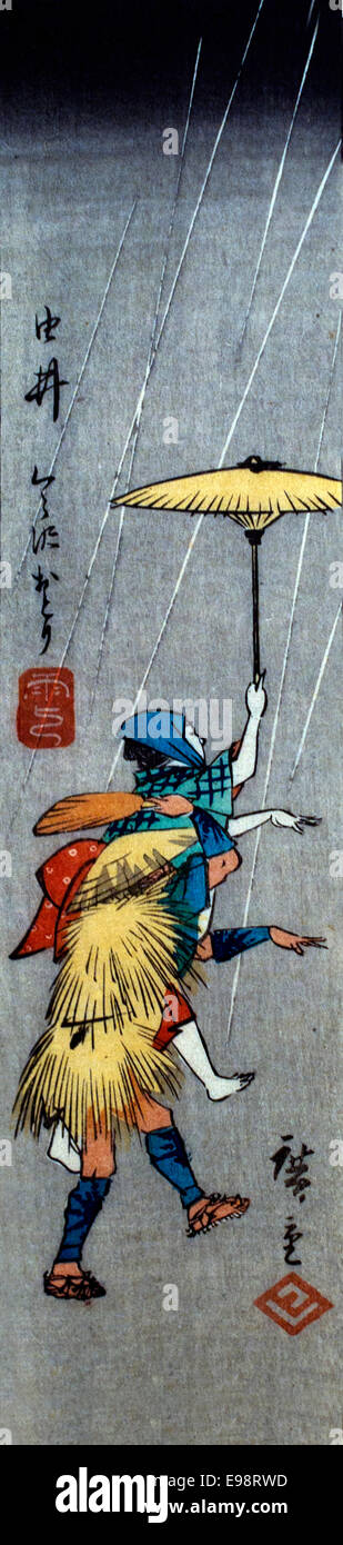 Two persons dancing with the umbrellas by Utagawa Hiroshige 1797-1858 Japan Japanese - Stock Image