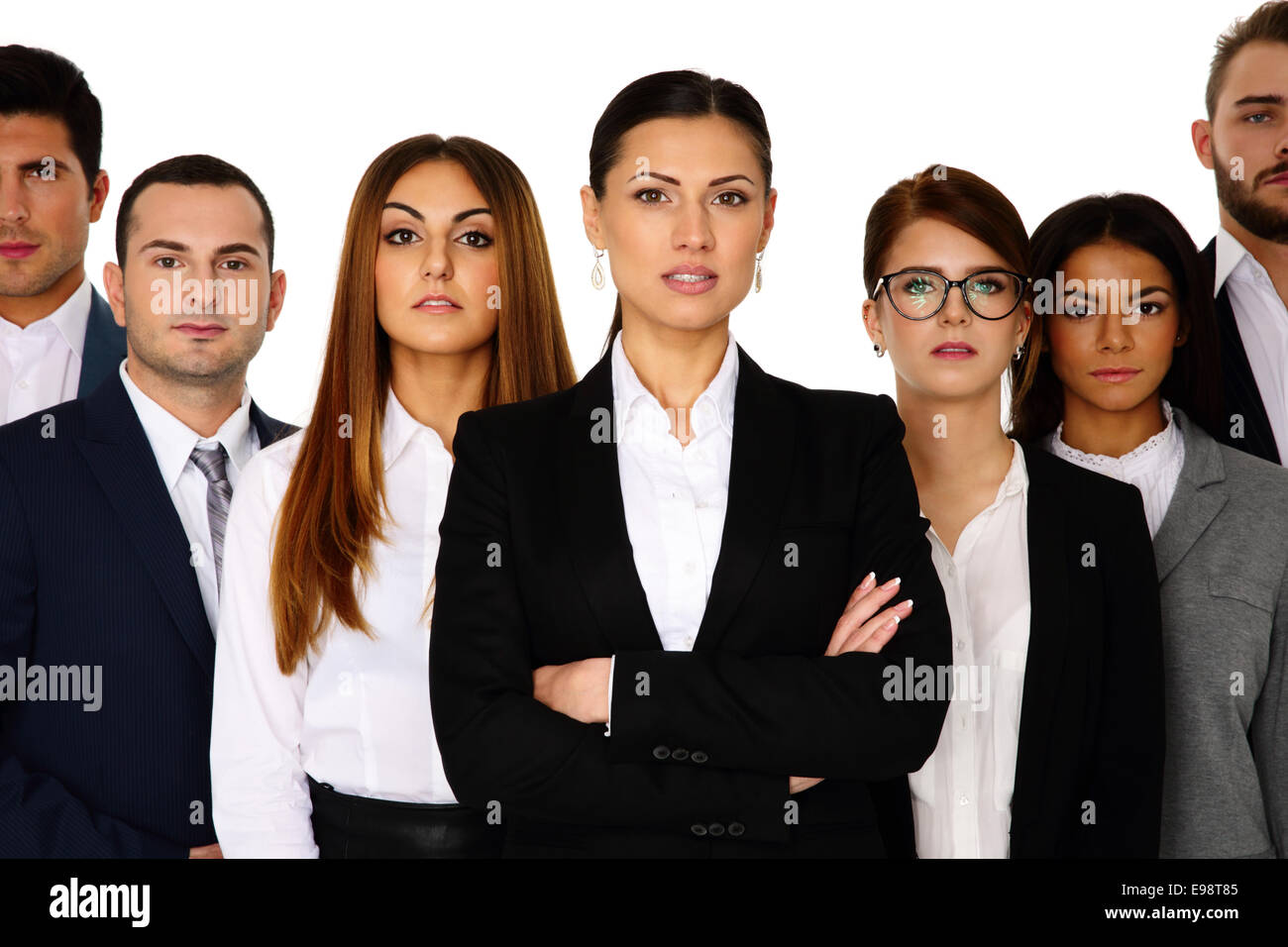 Woman leading her team over white background - Stock Image