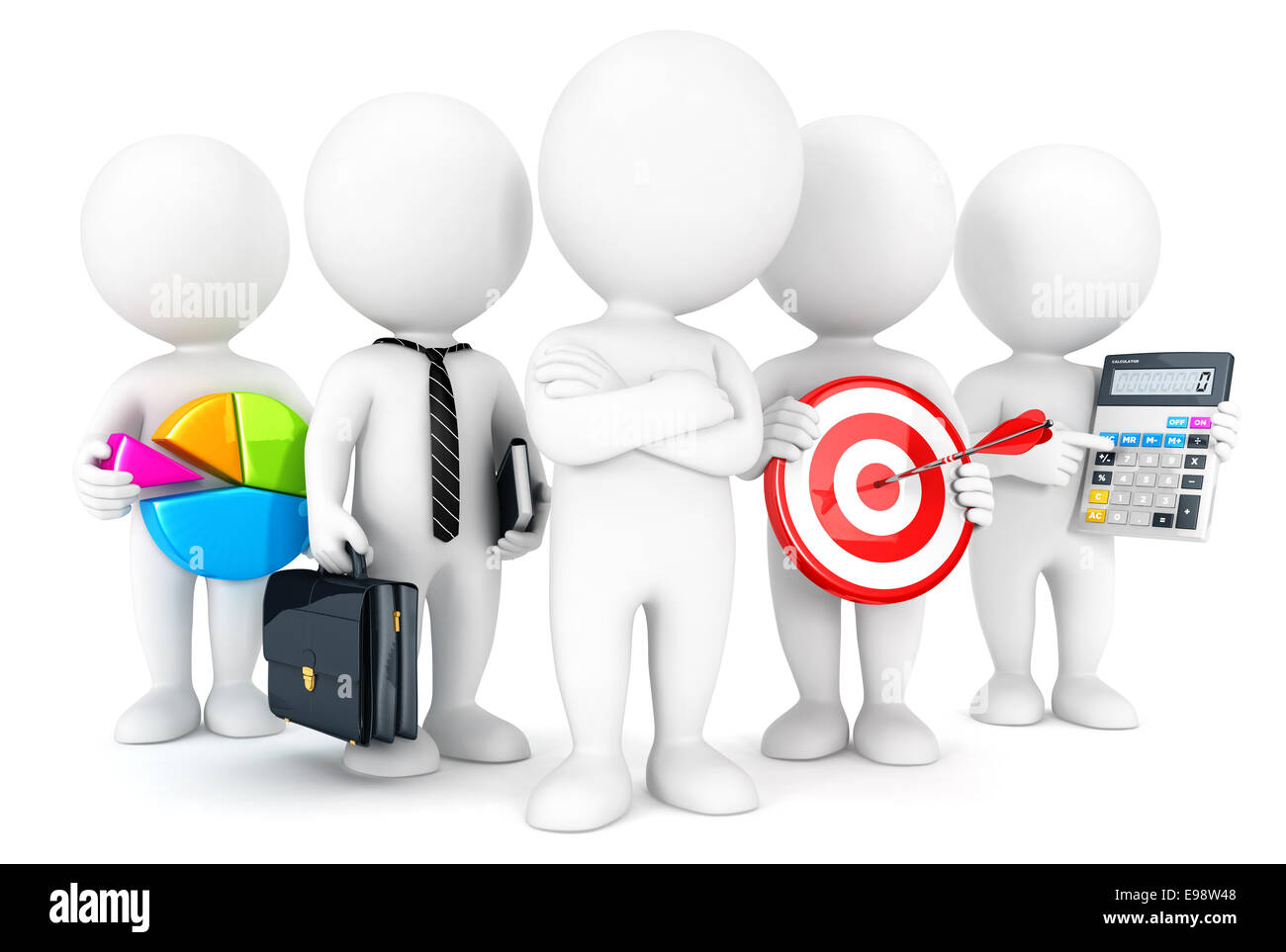 3d white people business concept, isolated white background, 3d image Stock Photo