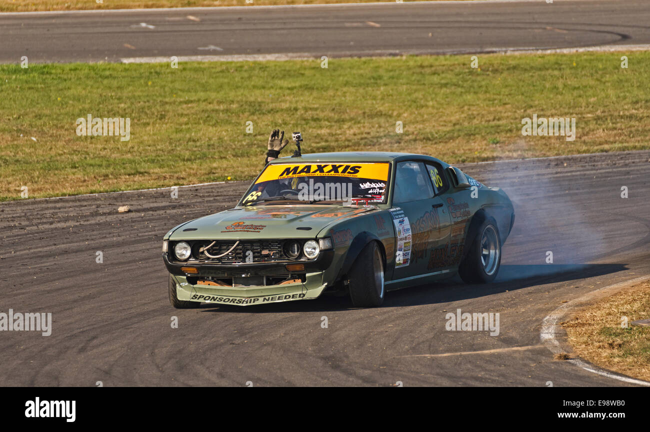Drifting Championship Ty Croes Anglesey North Wales Uk angleseycurcuit smoke speed tyres track skids skidding maxxis - Stock Image
