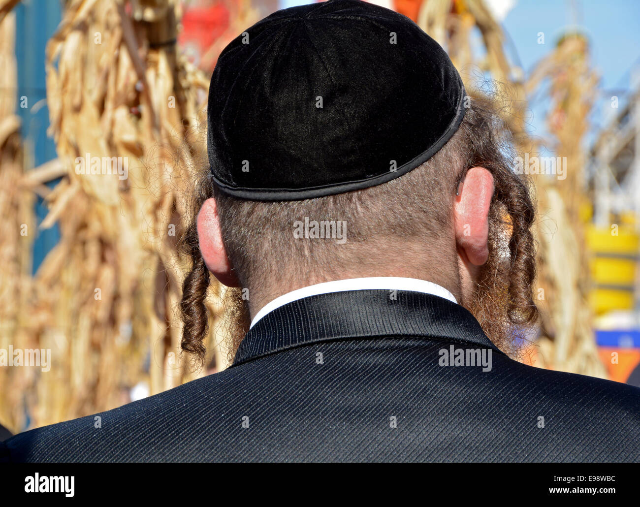 Close up of an ultra religious Jewish man's peyot outdoors in Coney Island during the Sukkot holiday. In Brooklyn, - Stock Image