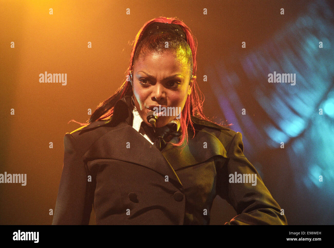 American singer Janet Jackson in concert at Glasgow SECC, in